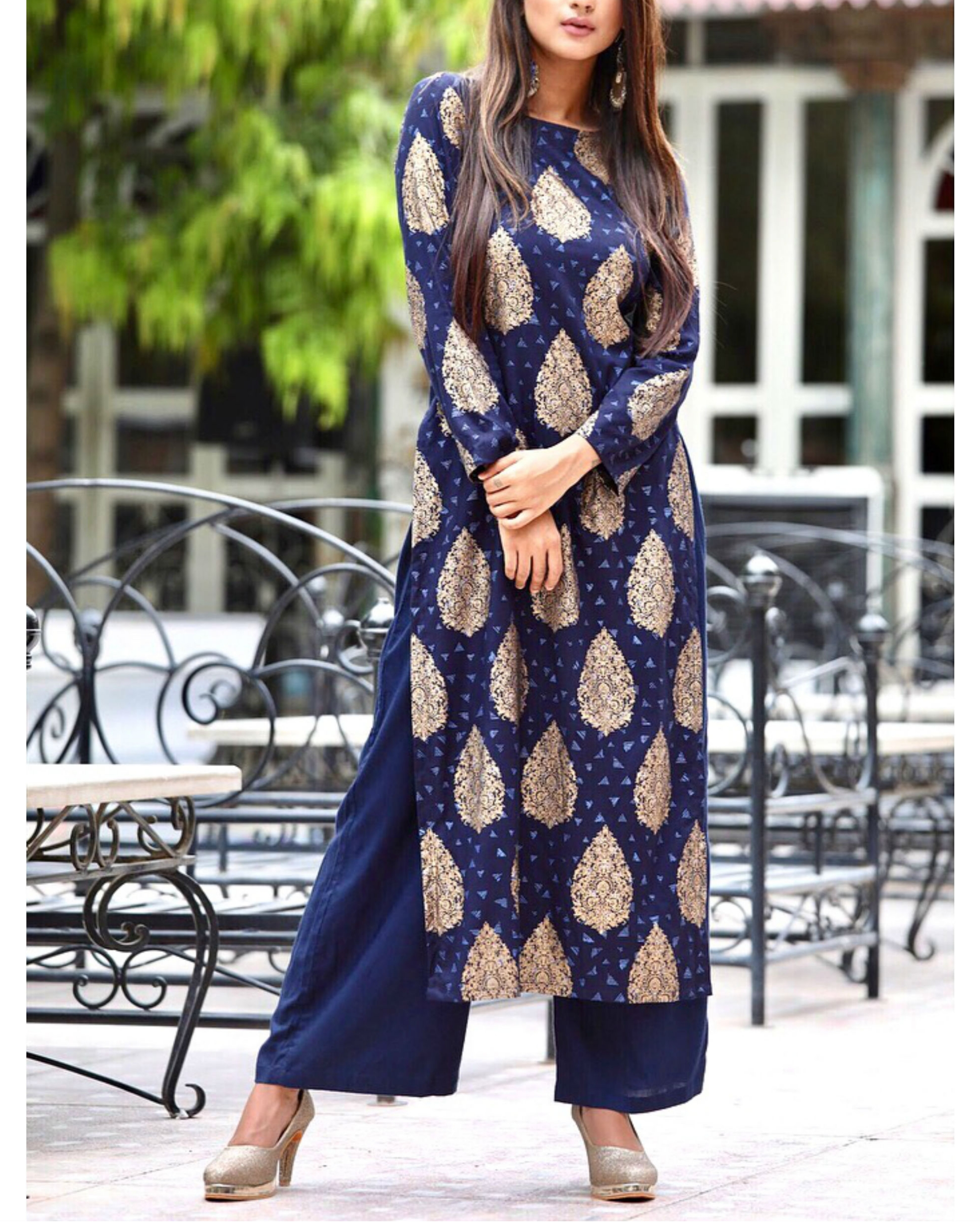 a54fea85d7cea Blue straight kurta with ankle length palazzo by Rivaaj | The Secret Label