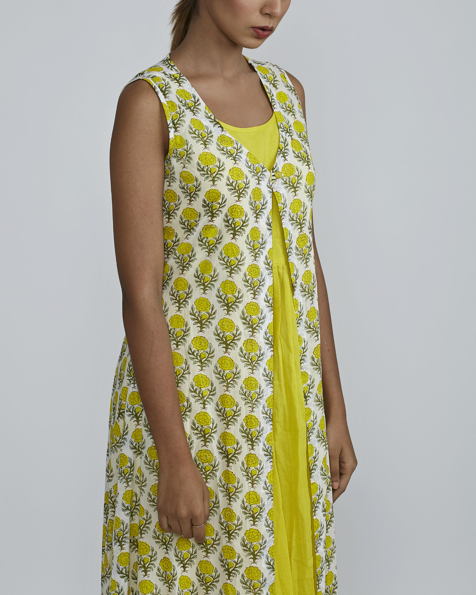 Lemon gathered kurta with lemon rose  cover up