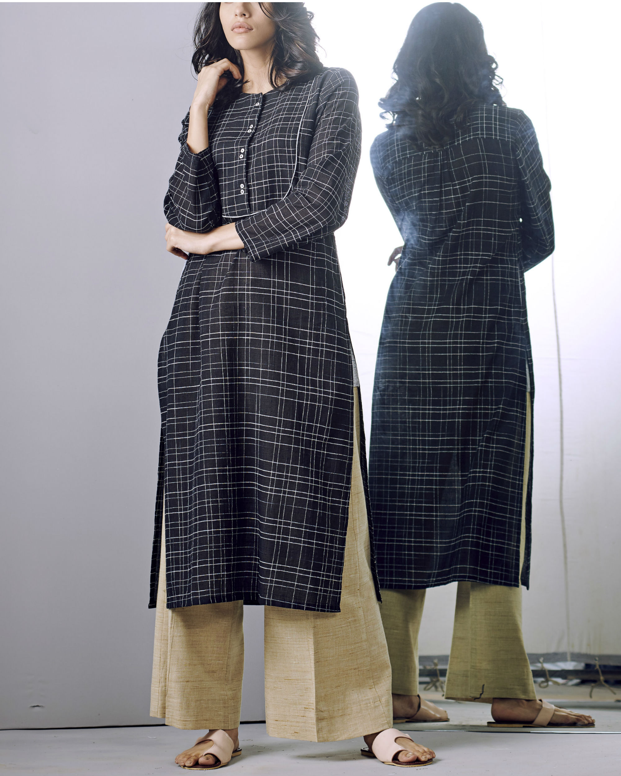 Black checks buttoned kurta