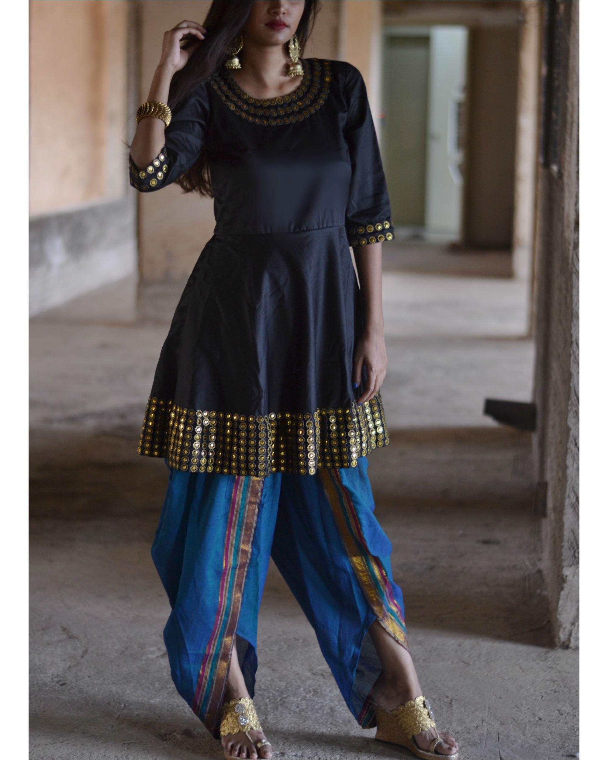 Black and blue dhoti set