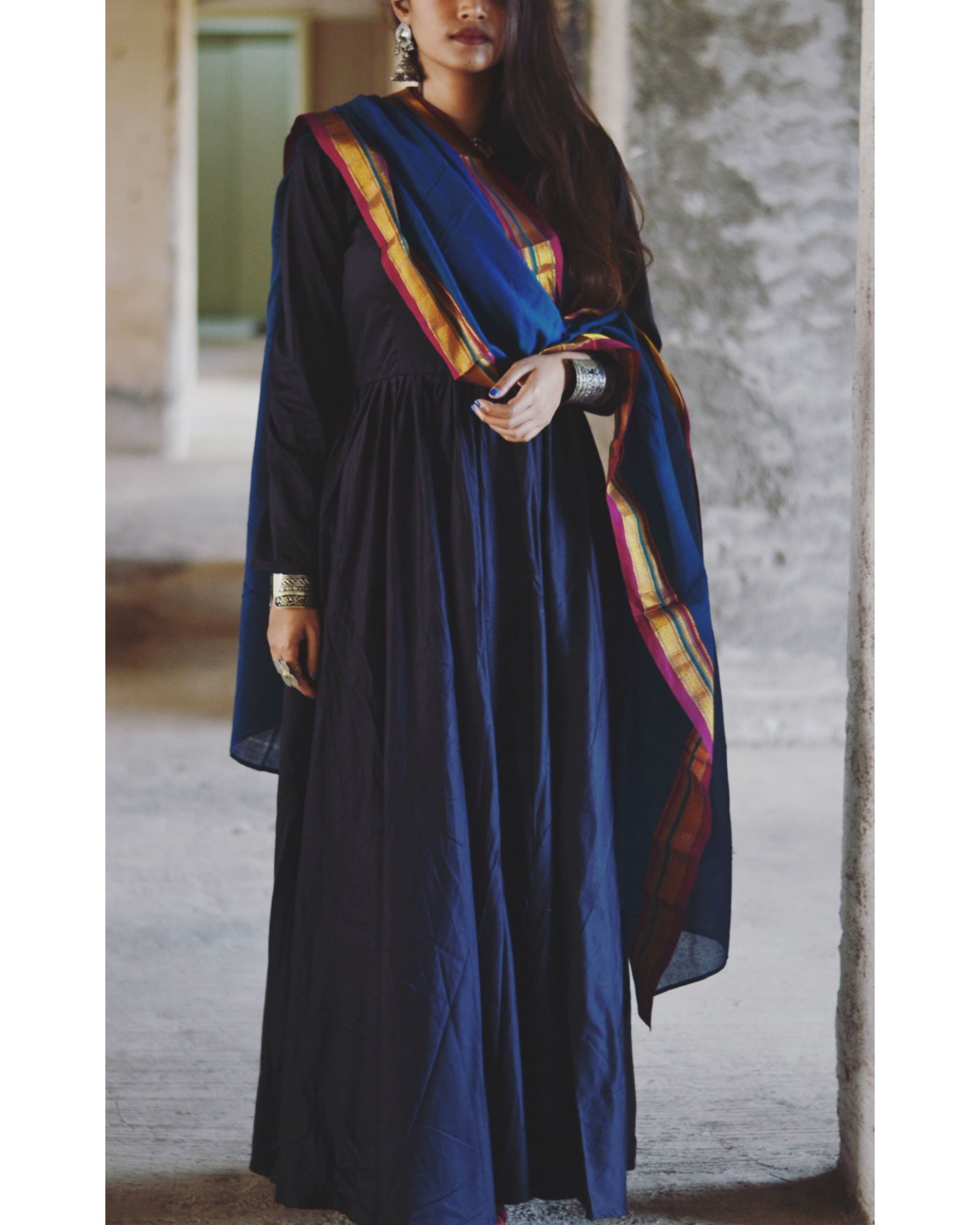 Blue fit and flare dupatta set