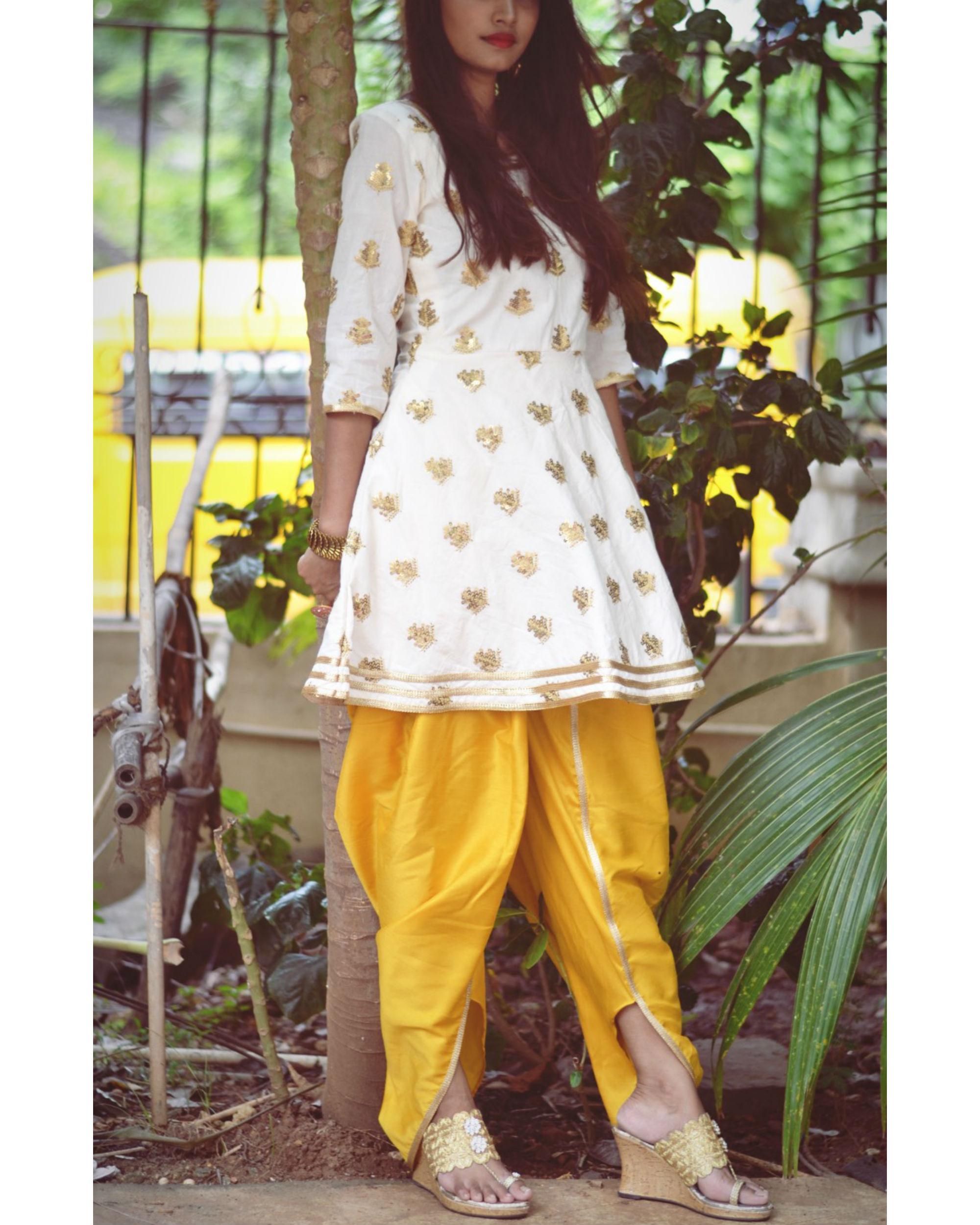 White and Yellow Dhoti Set