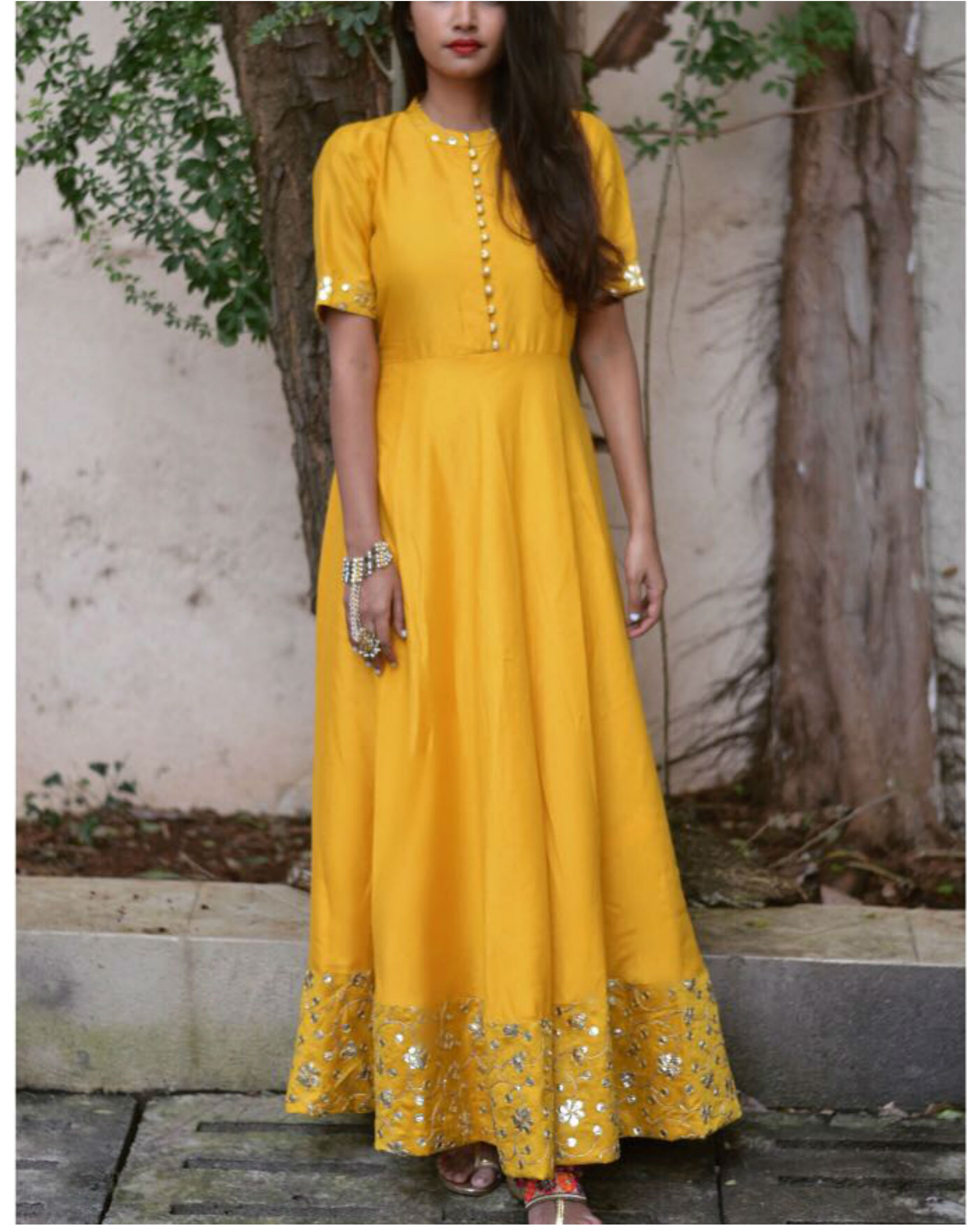 Golden yellow embroidered dress