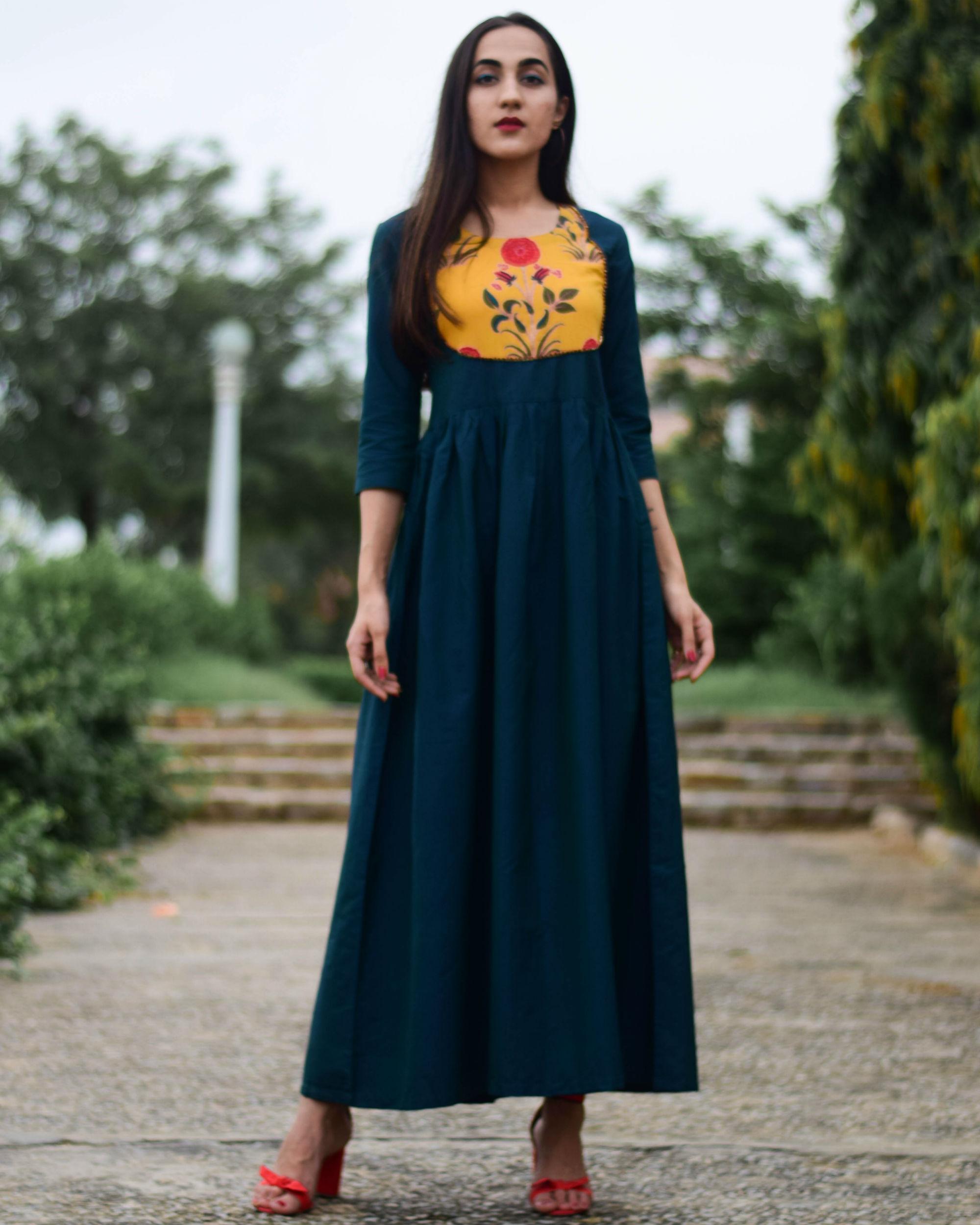 Noor green patch dress