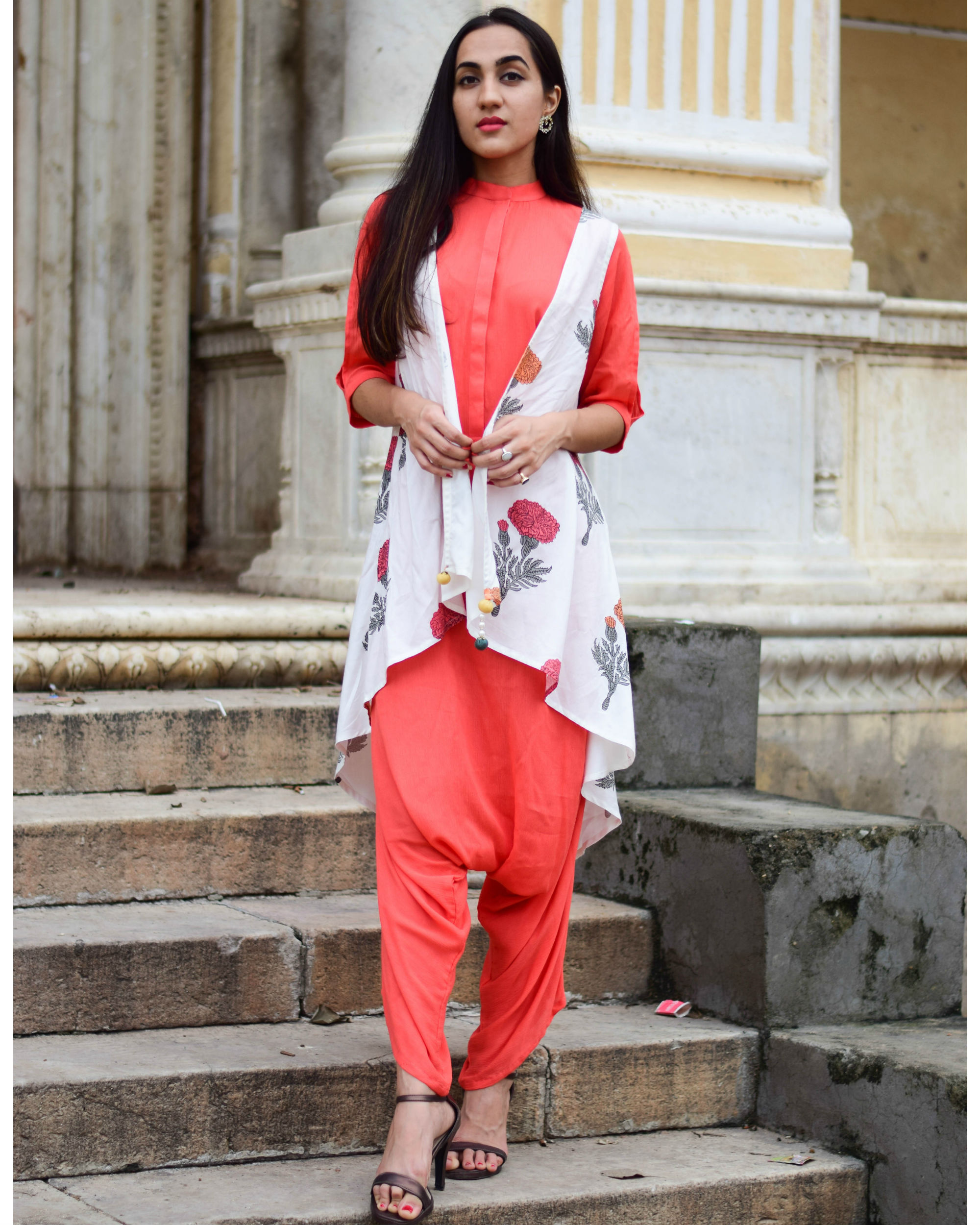 Coral jumpsuit with floral jacket