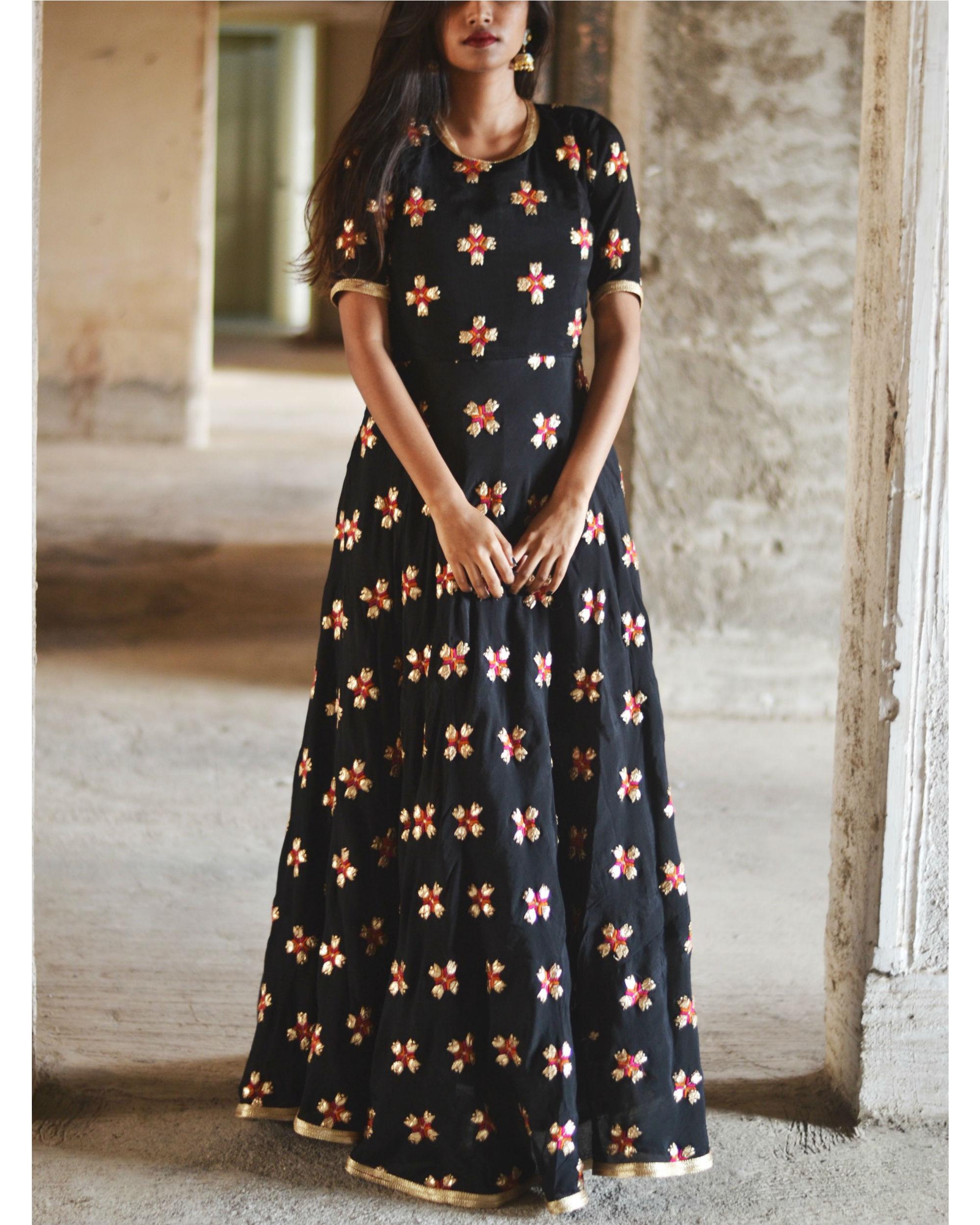 c8cab6dd05e7 Black phulkari motif dress by Tie & Dye Tale | The Secret Label