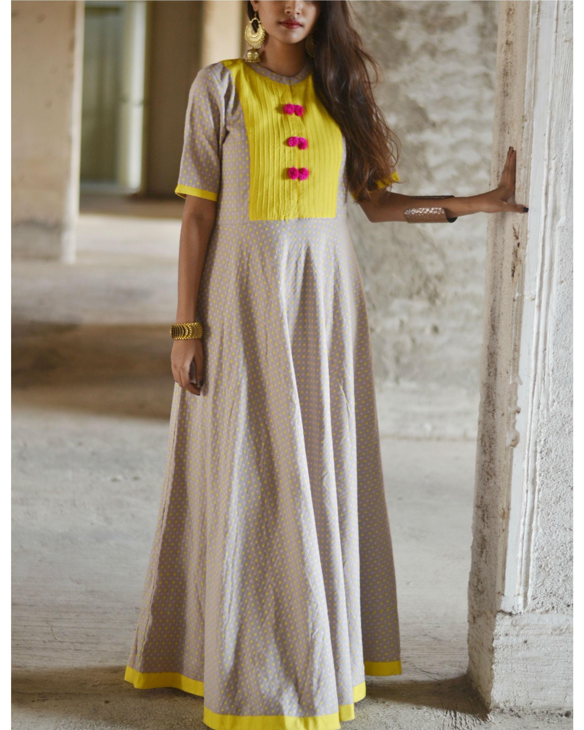 Yellow yoke pompom dress