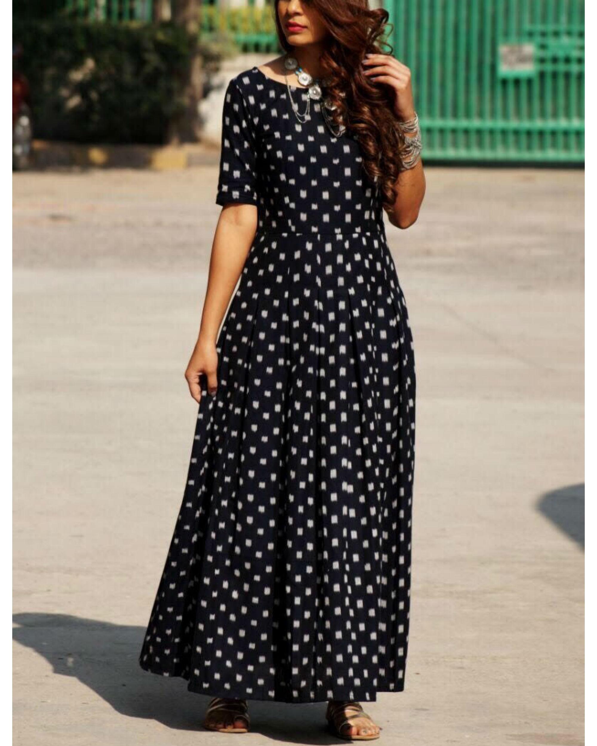 Black ikat flared dress