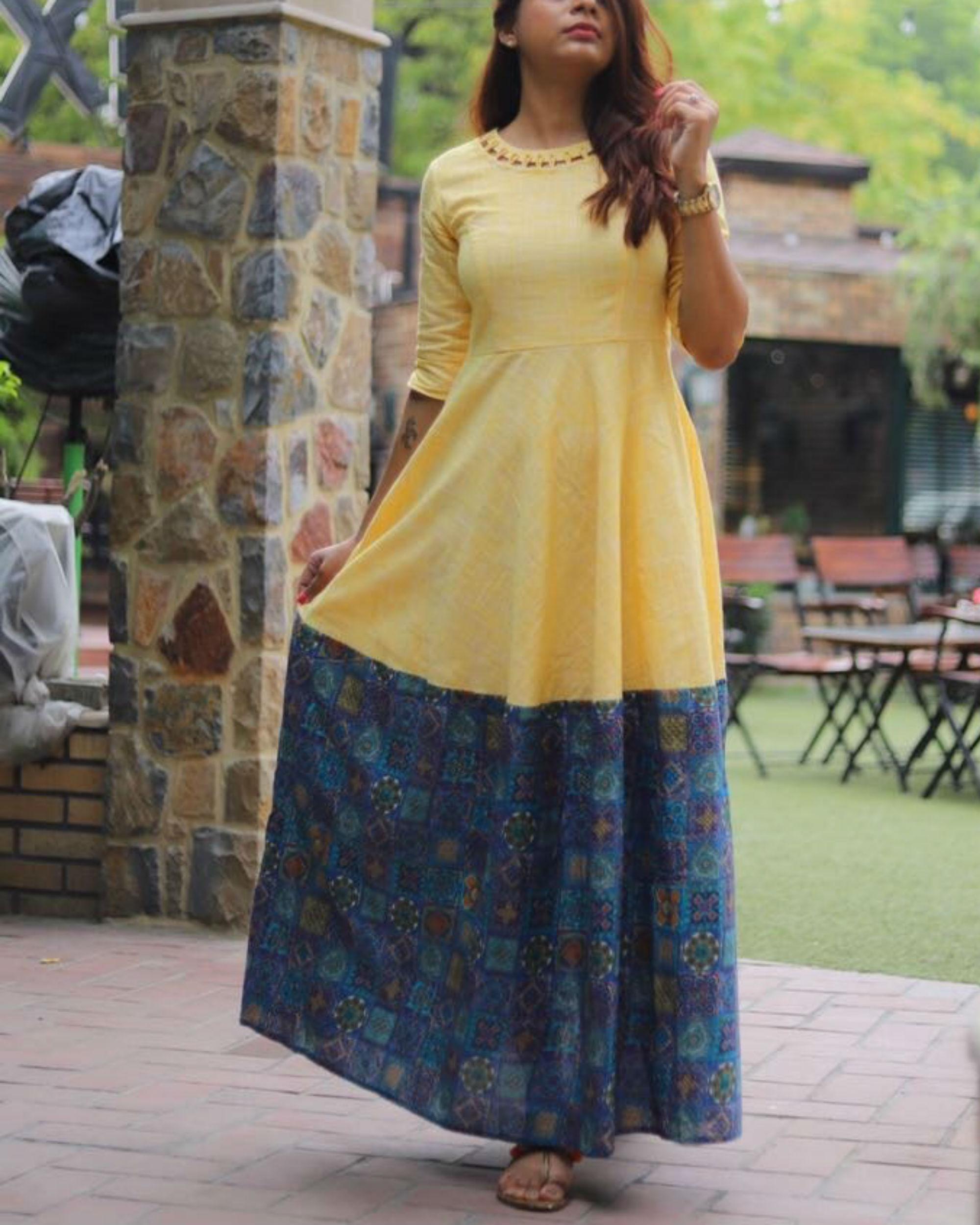 Yellow loop neckline dress