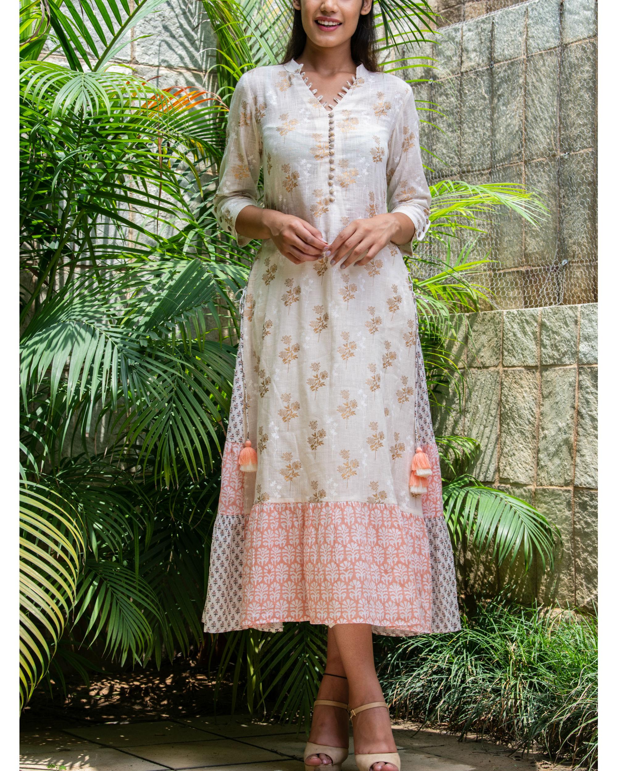 Multiple prints khadi cotton maxi