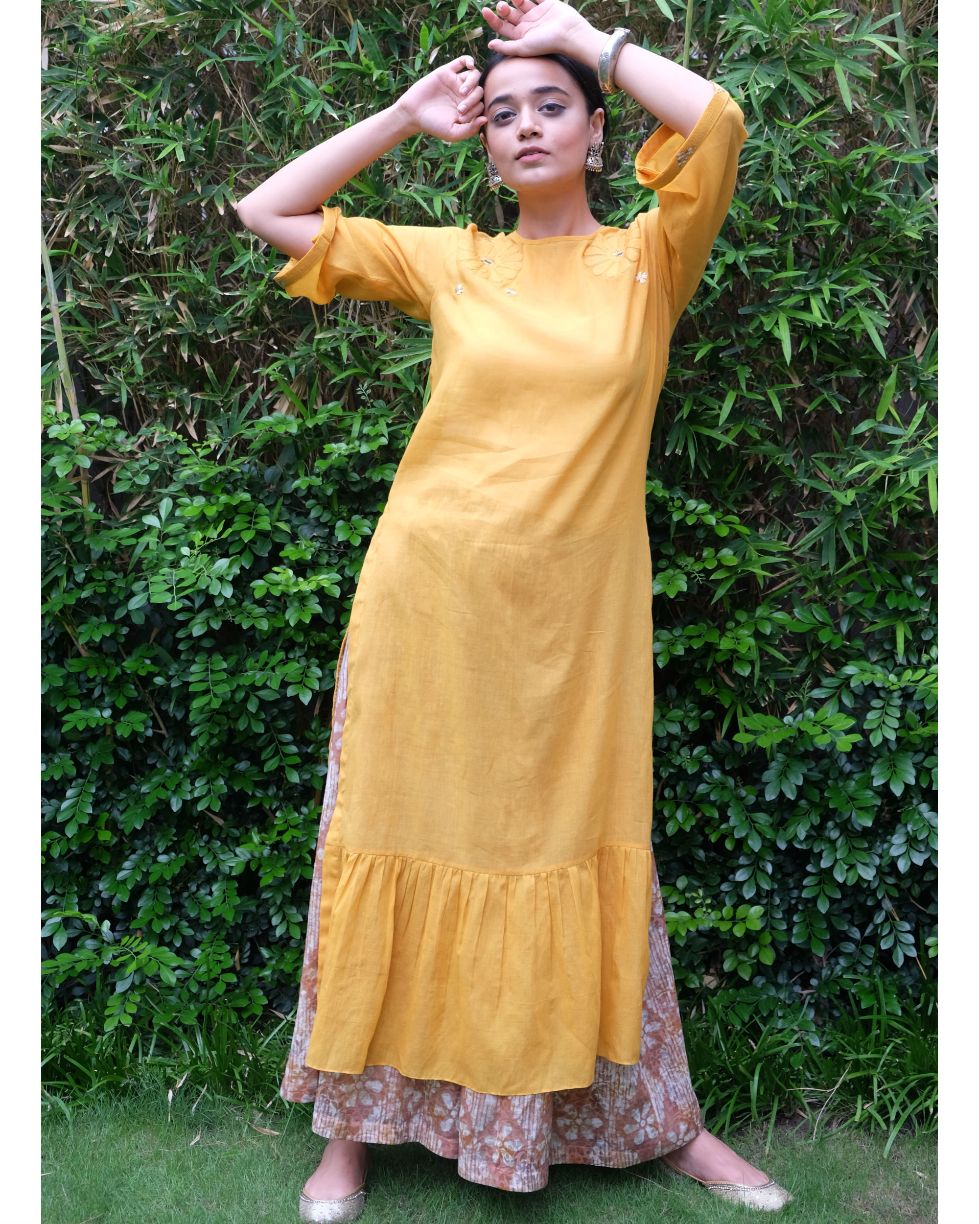 Yellow applique frill tunic