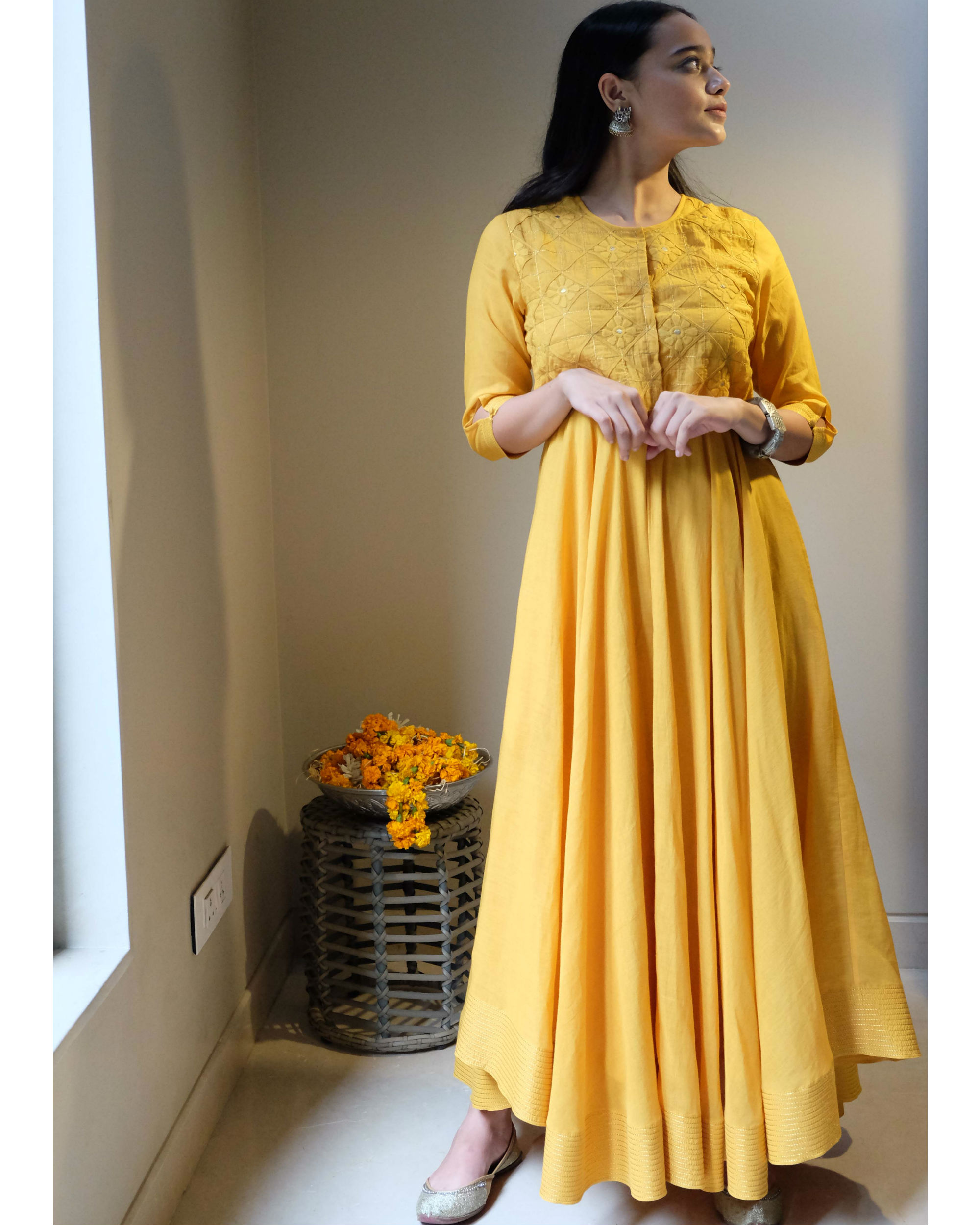 Yellow applique embroidery dress