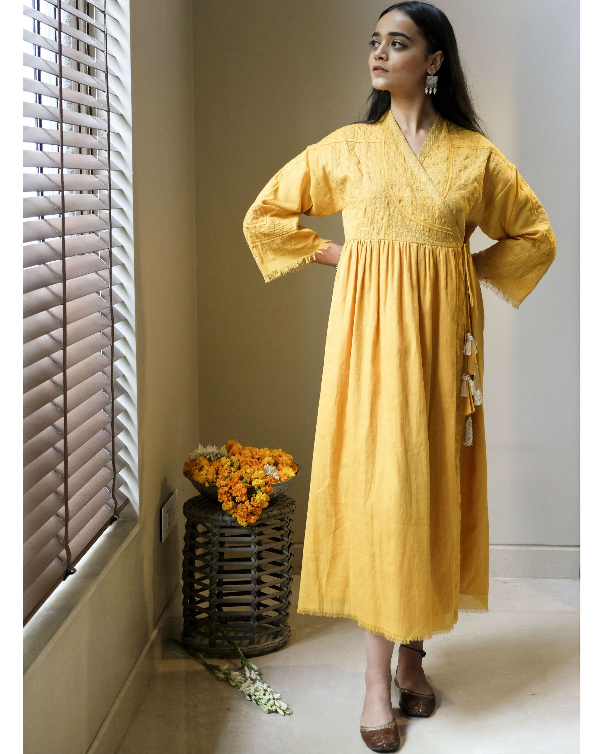 Yellow zari angrakha dress