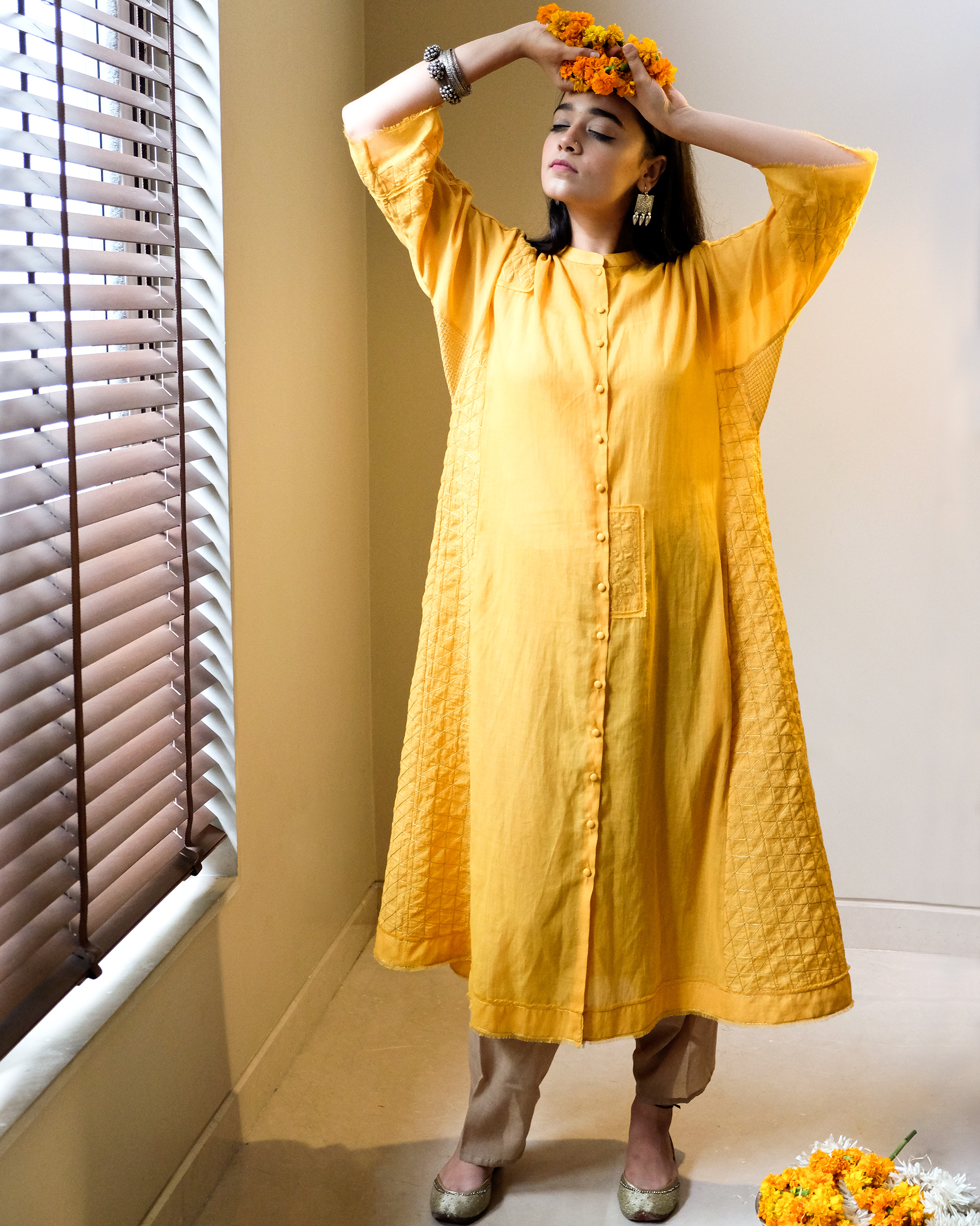 Yellow zari quilt tunic
