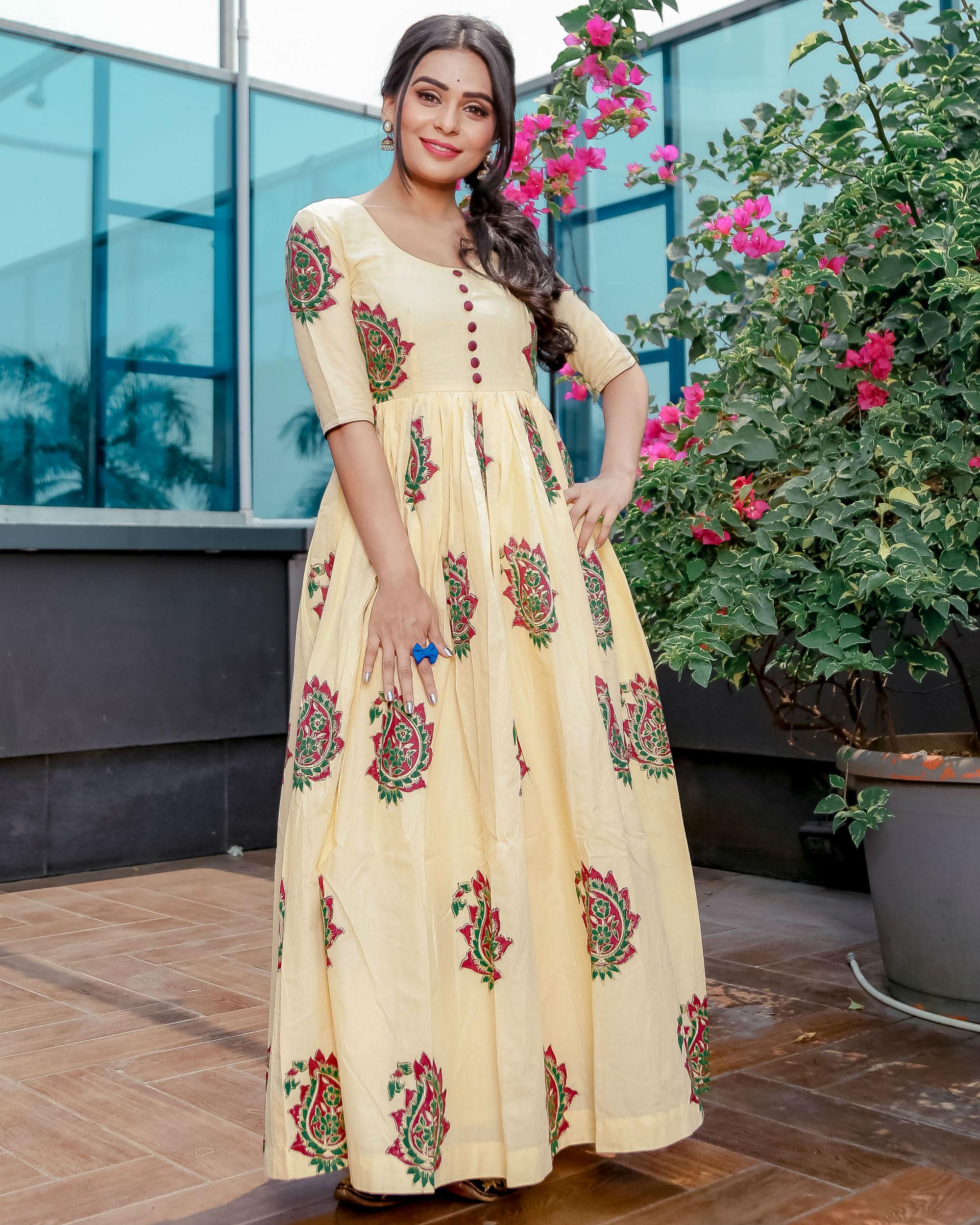 c457b2ba Cream mughal paisley print dress by Aachho | The Secret Label