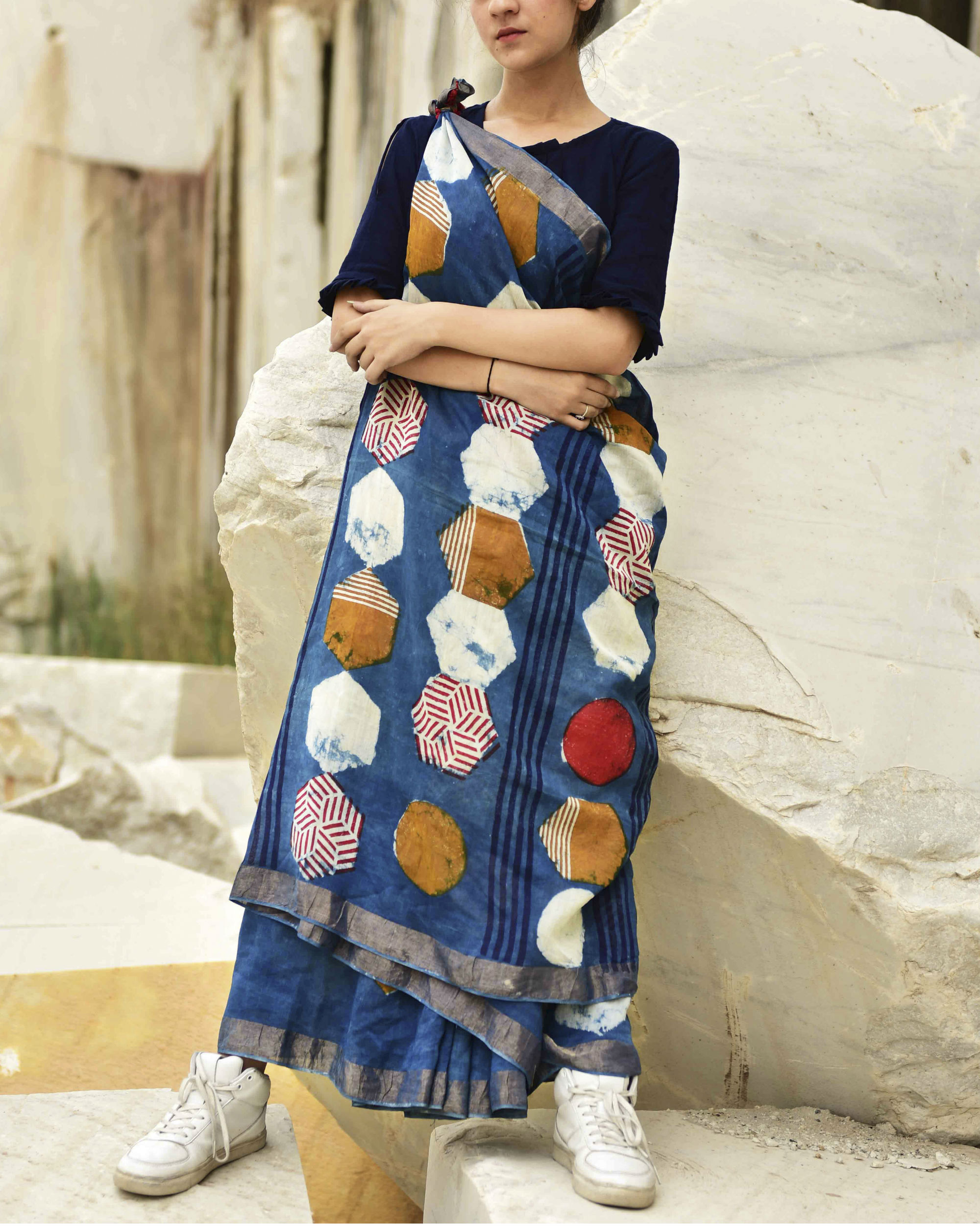 Indigo hexagon print saree