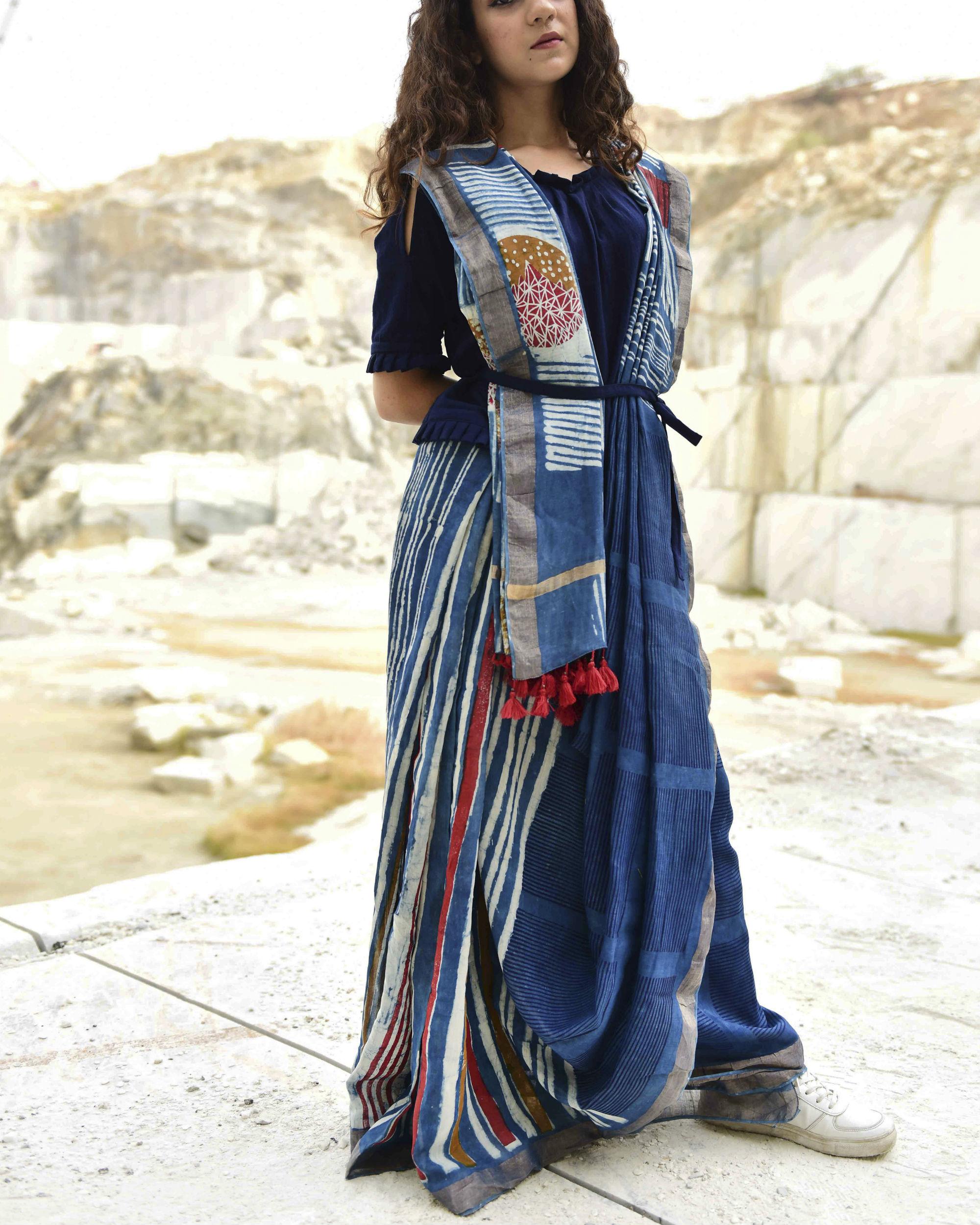 Indigo stripes dabu print sari