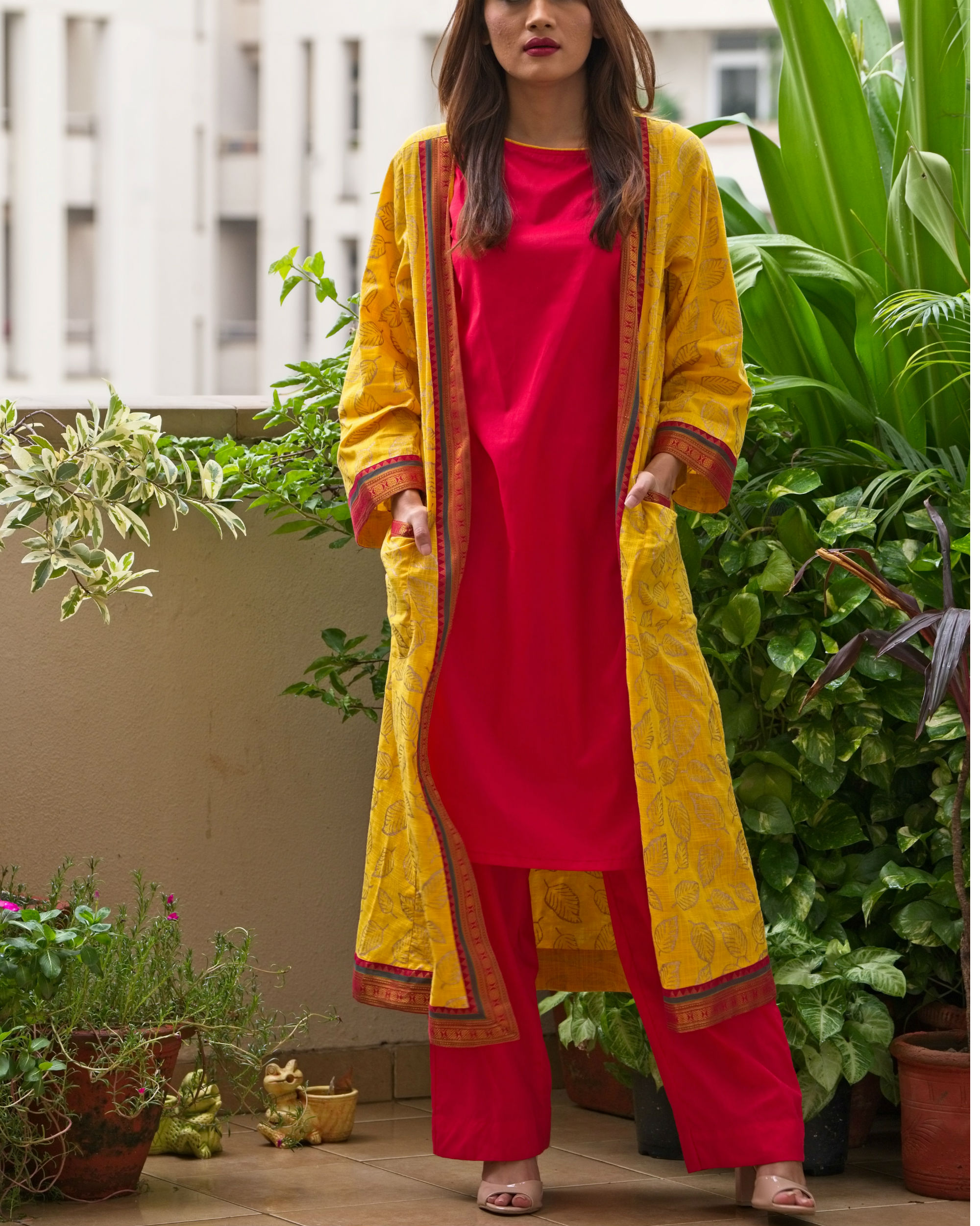 c4ab0a502c Red kurta set with yellow jacket by Free Living | The Secret Label
