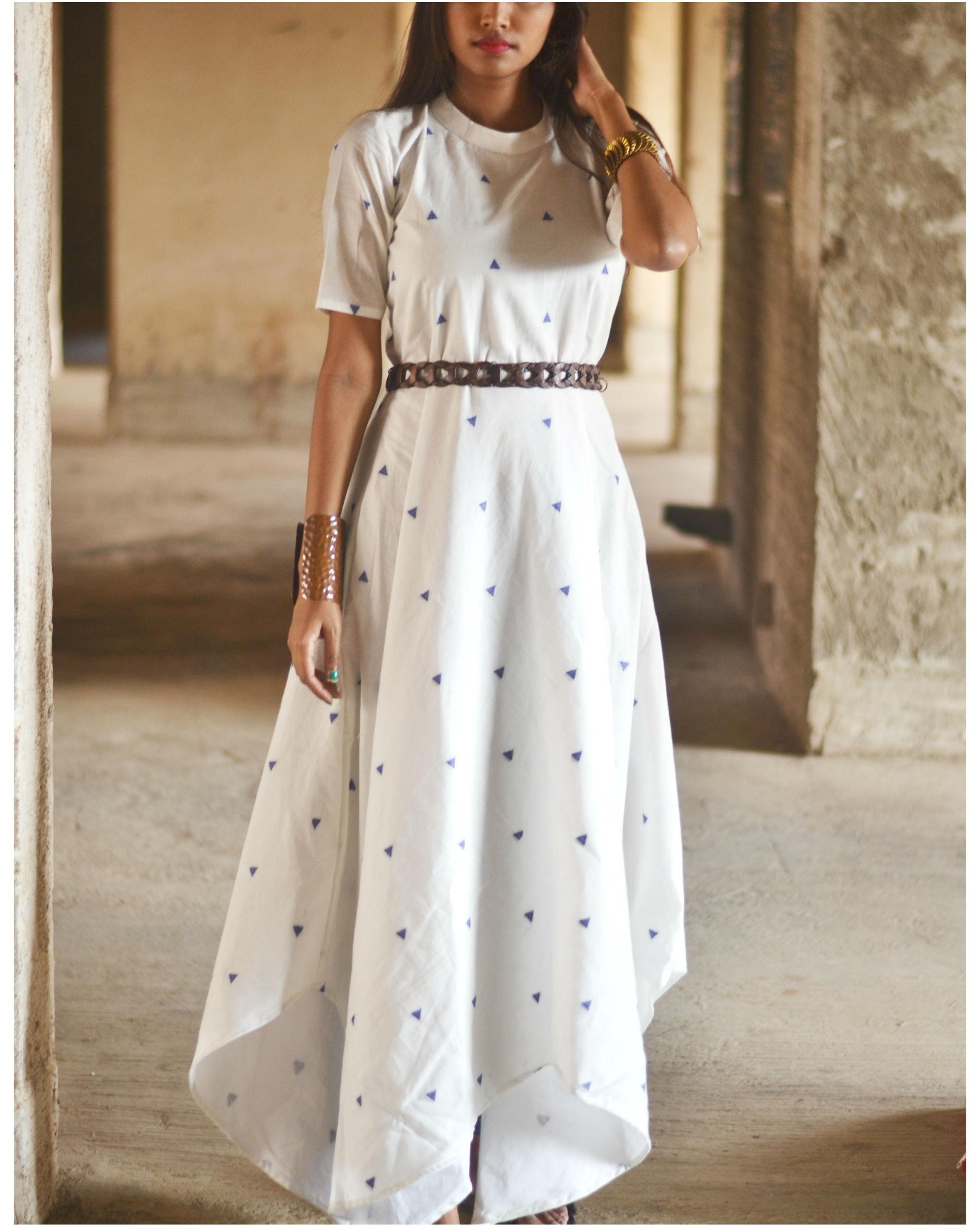 White uneven hemline dress