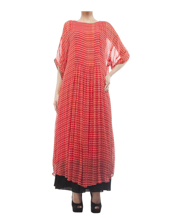 Printed long tunic with pintuks