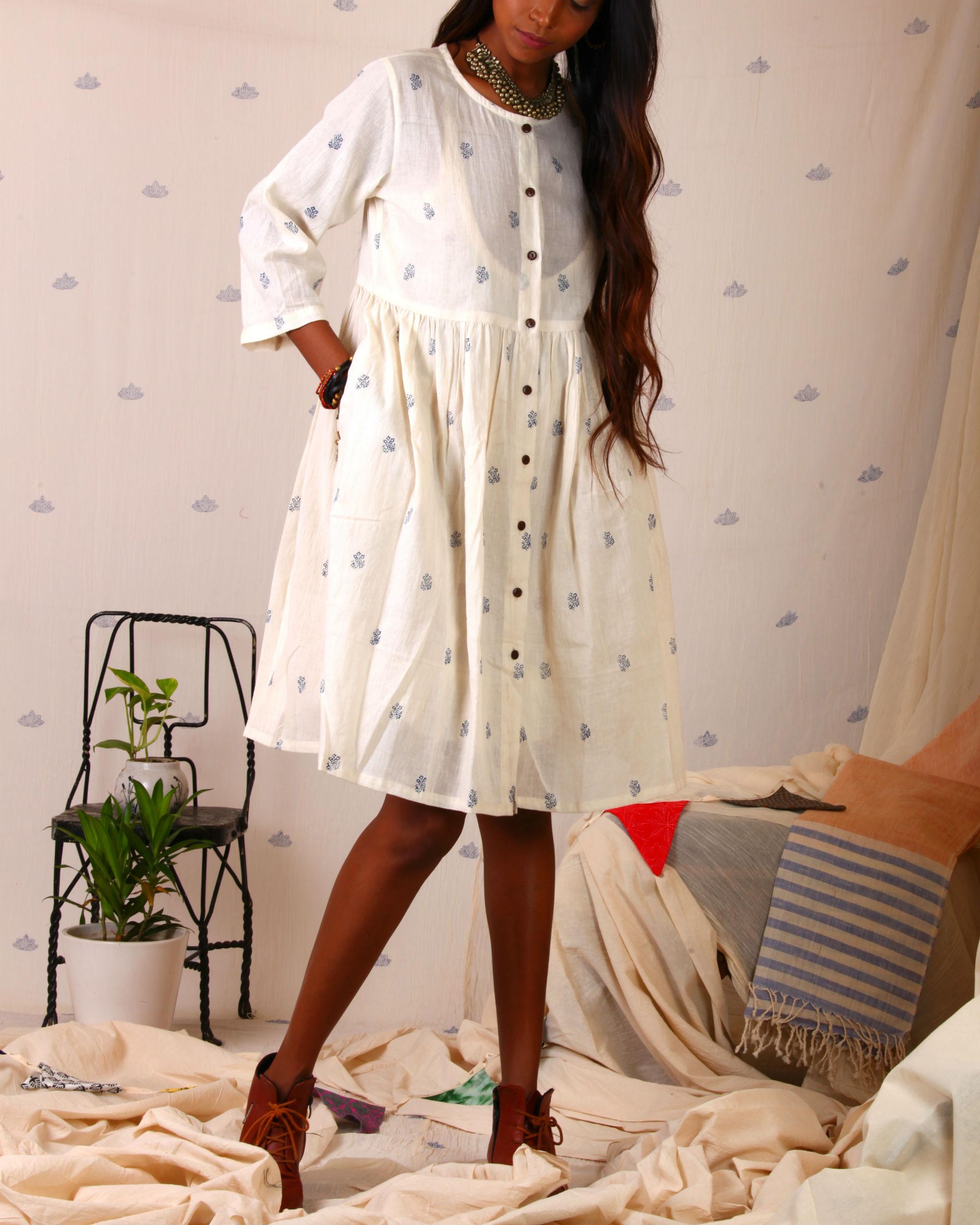 Block printed shirt dress