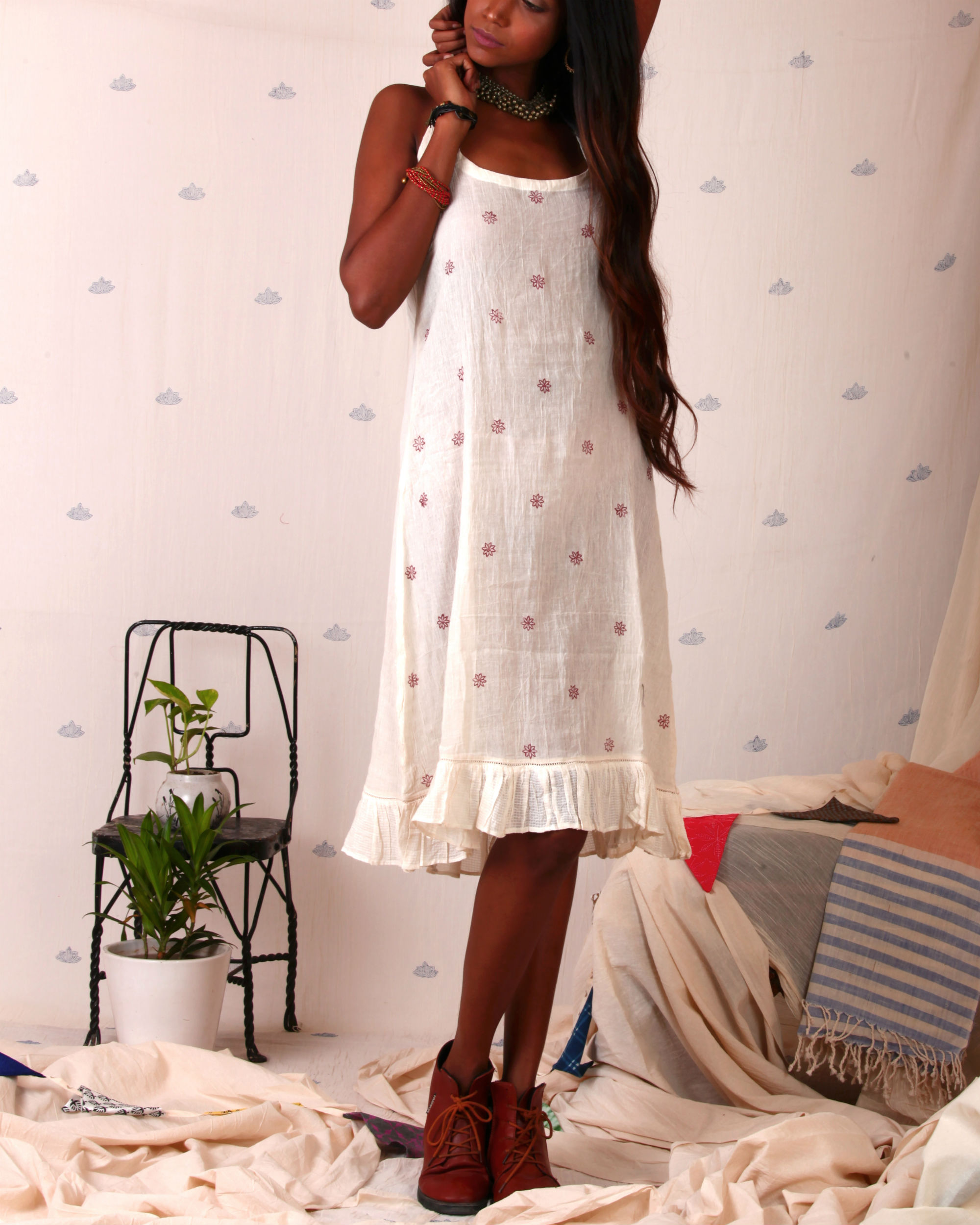 Flower print slip dress