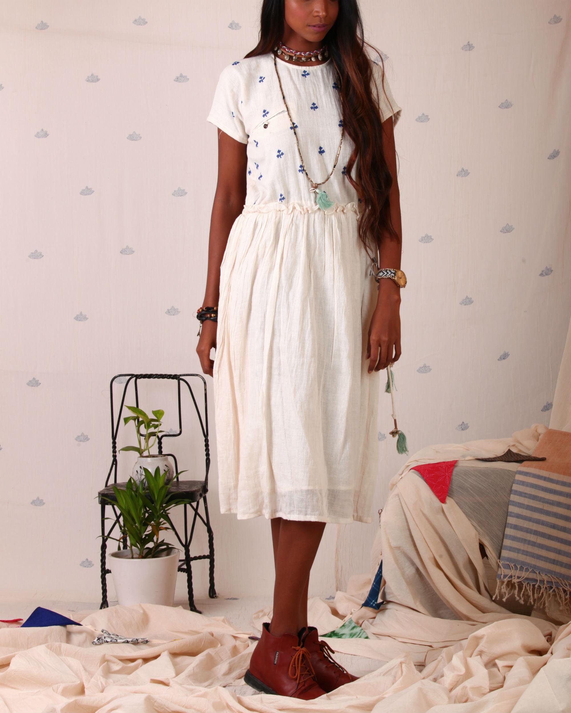 Block printed torso dress