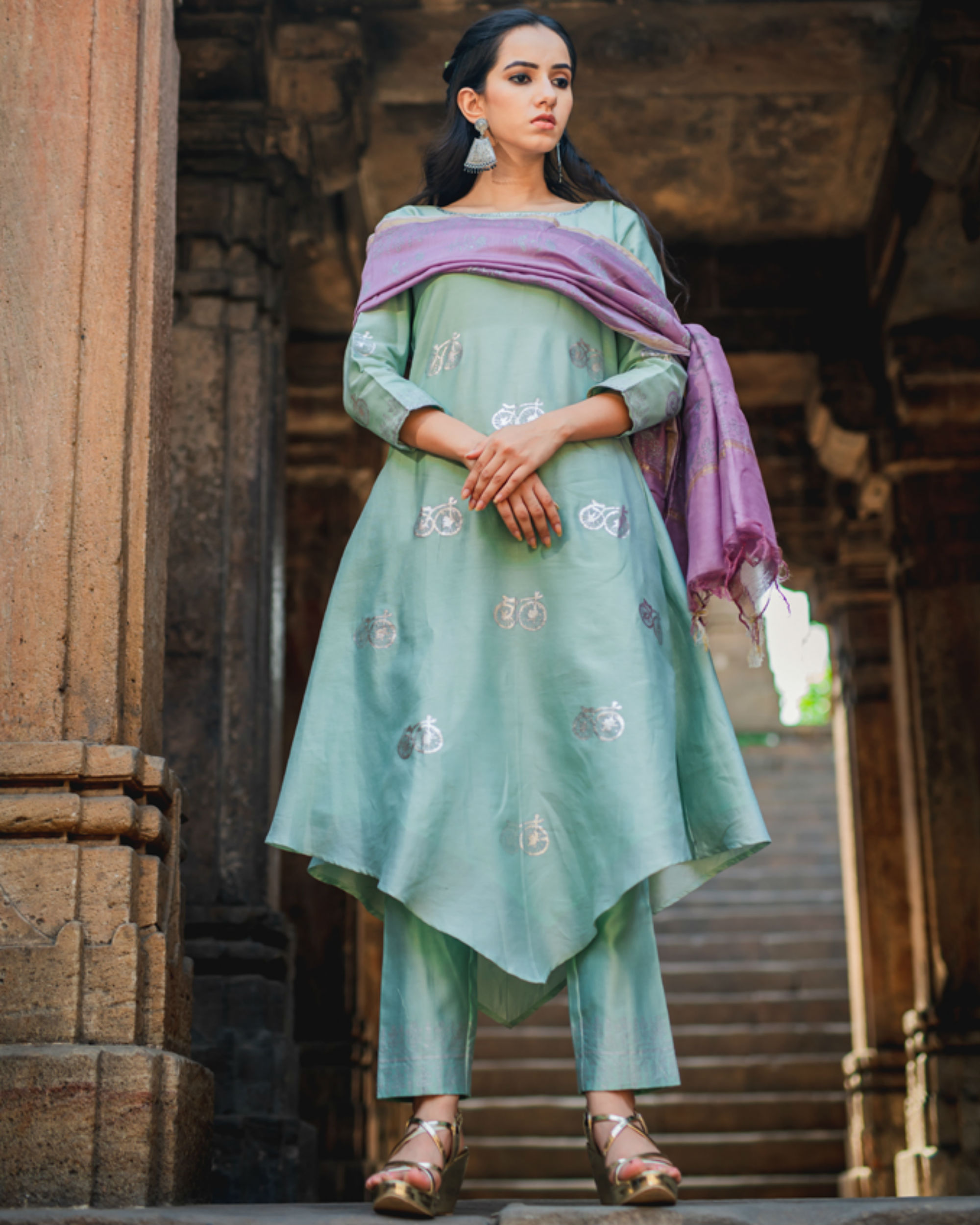 Mint green printed set with dupatta