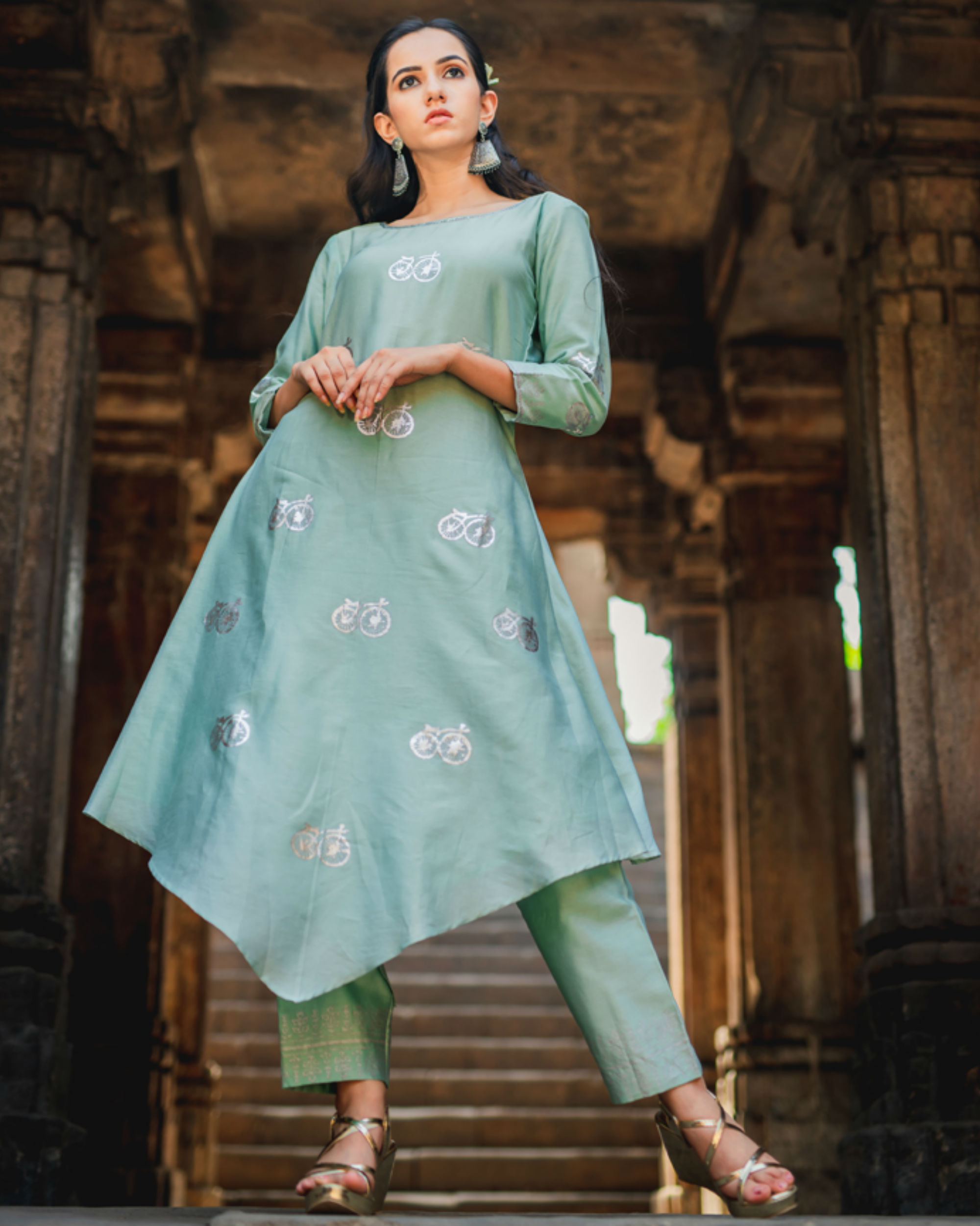 Mint green printed kurta pant set