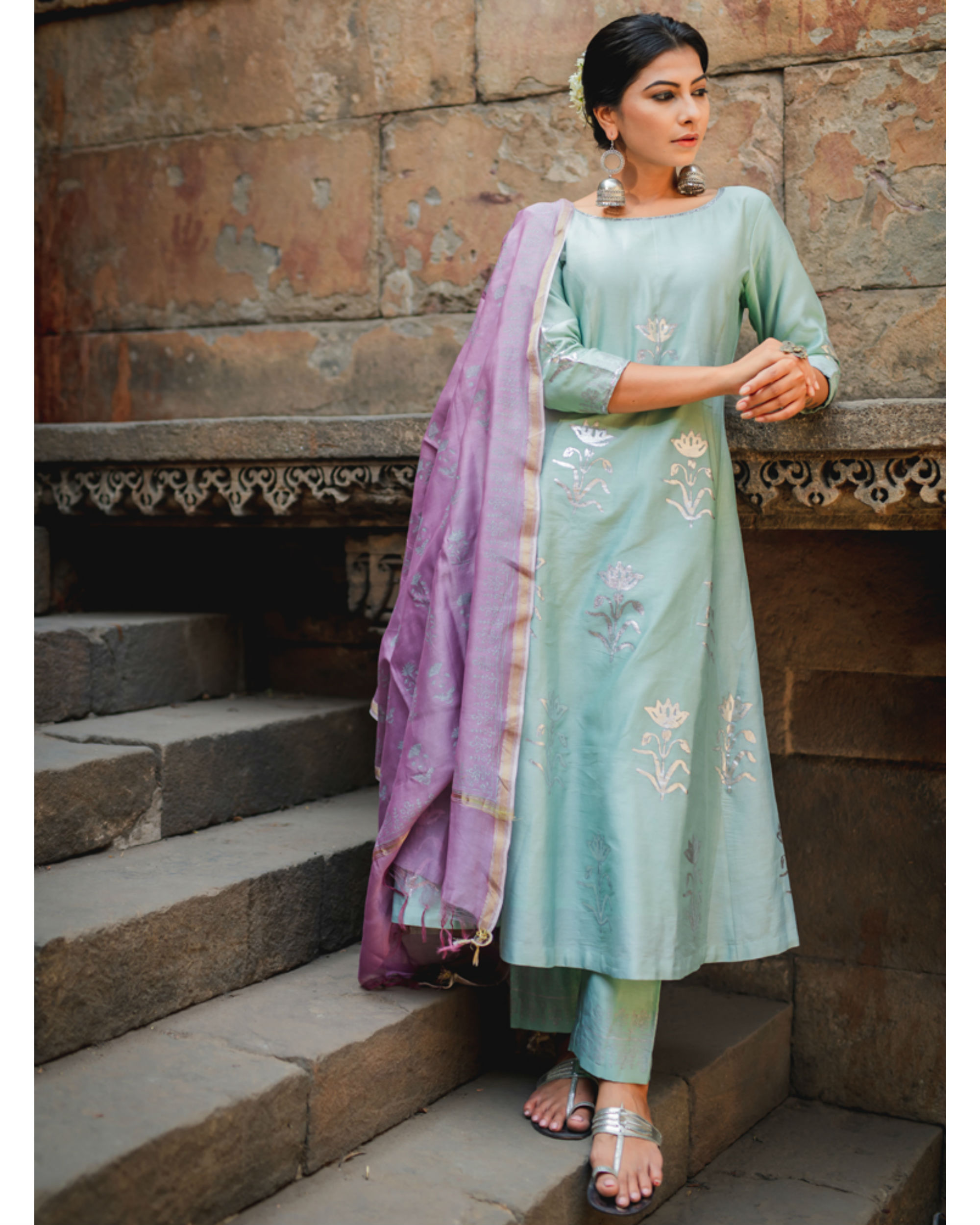 Mint green floral printed set with dupatta