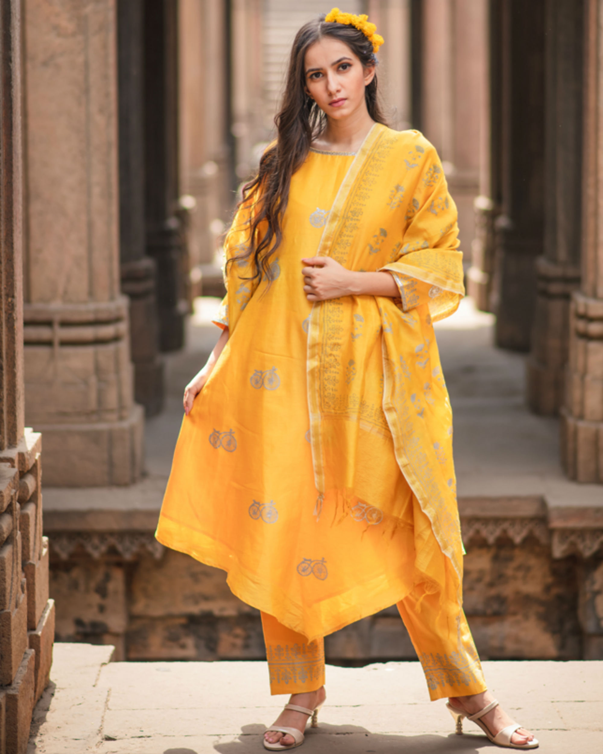 Mustard printed kurta set with dupatta