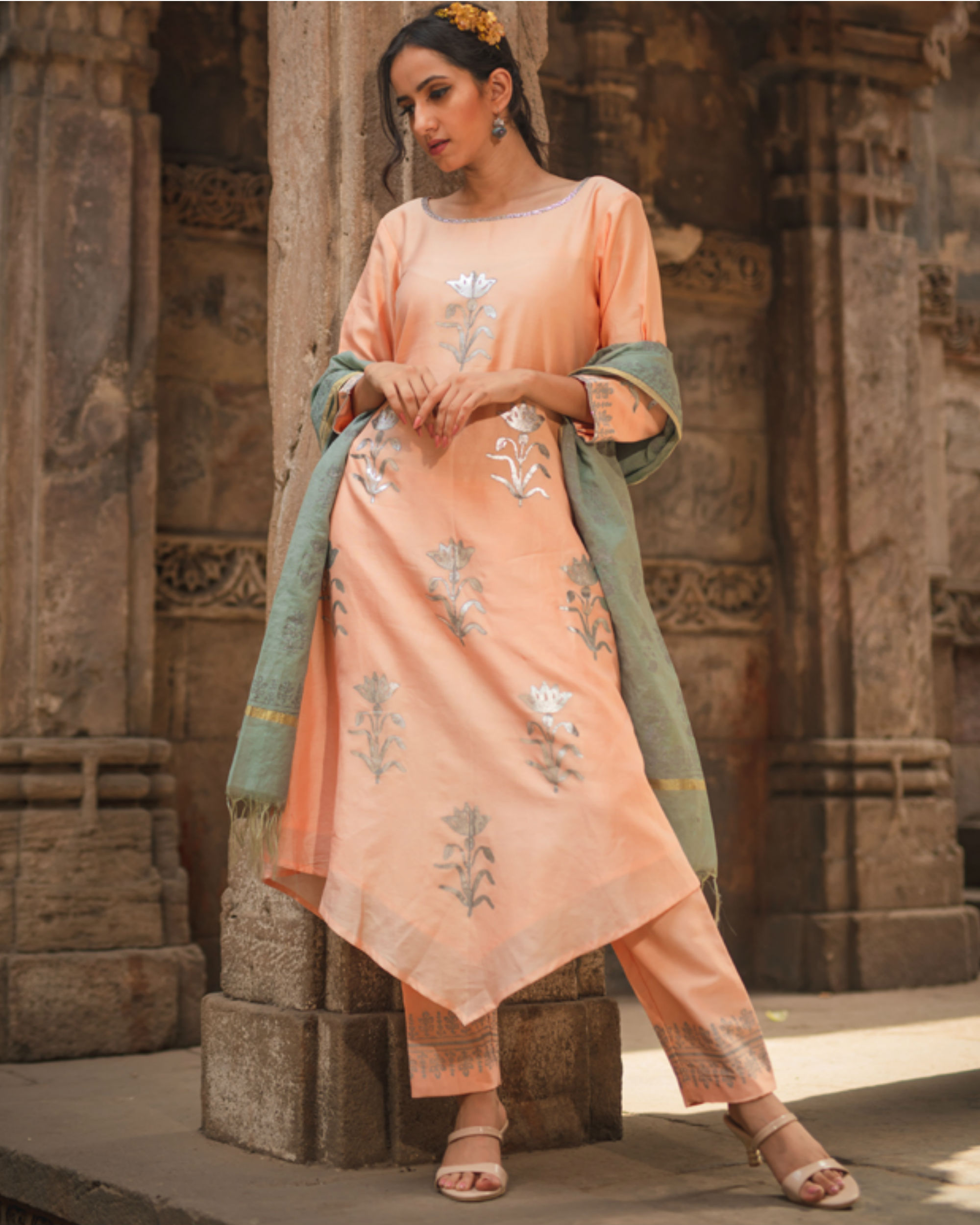 Peach floral kurta set with dupatta