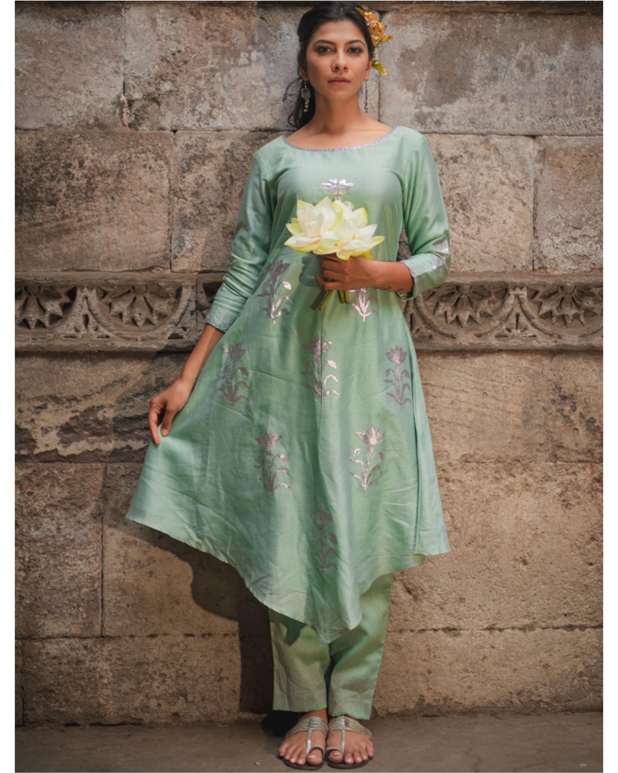Mint green floral kurta pant set