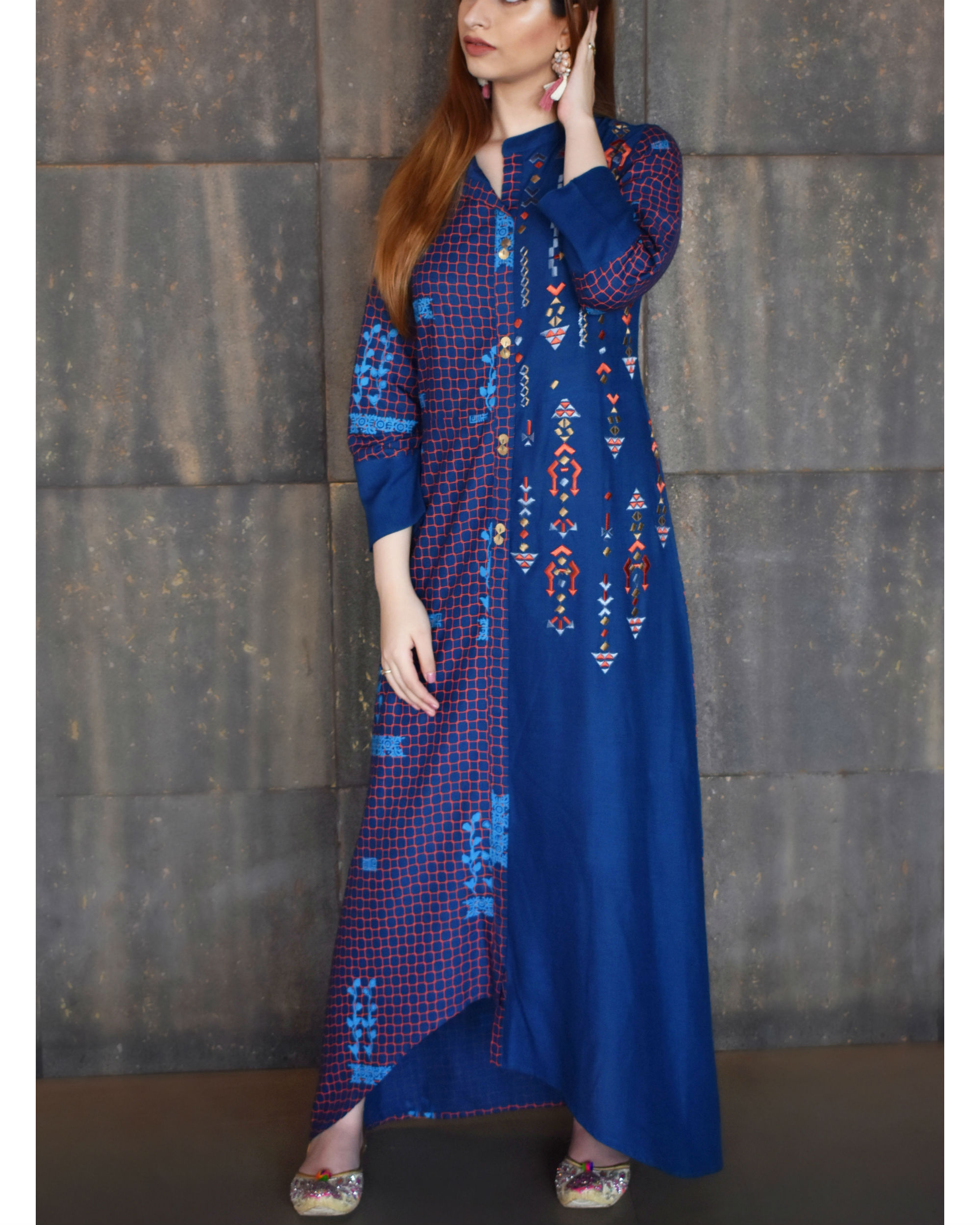 Blue high low tunic