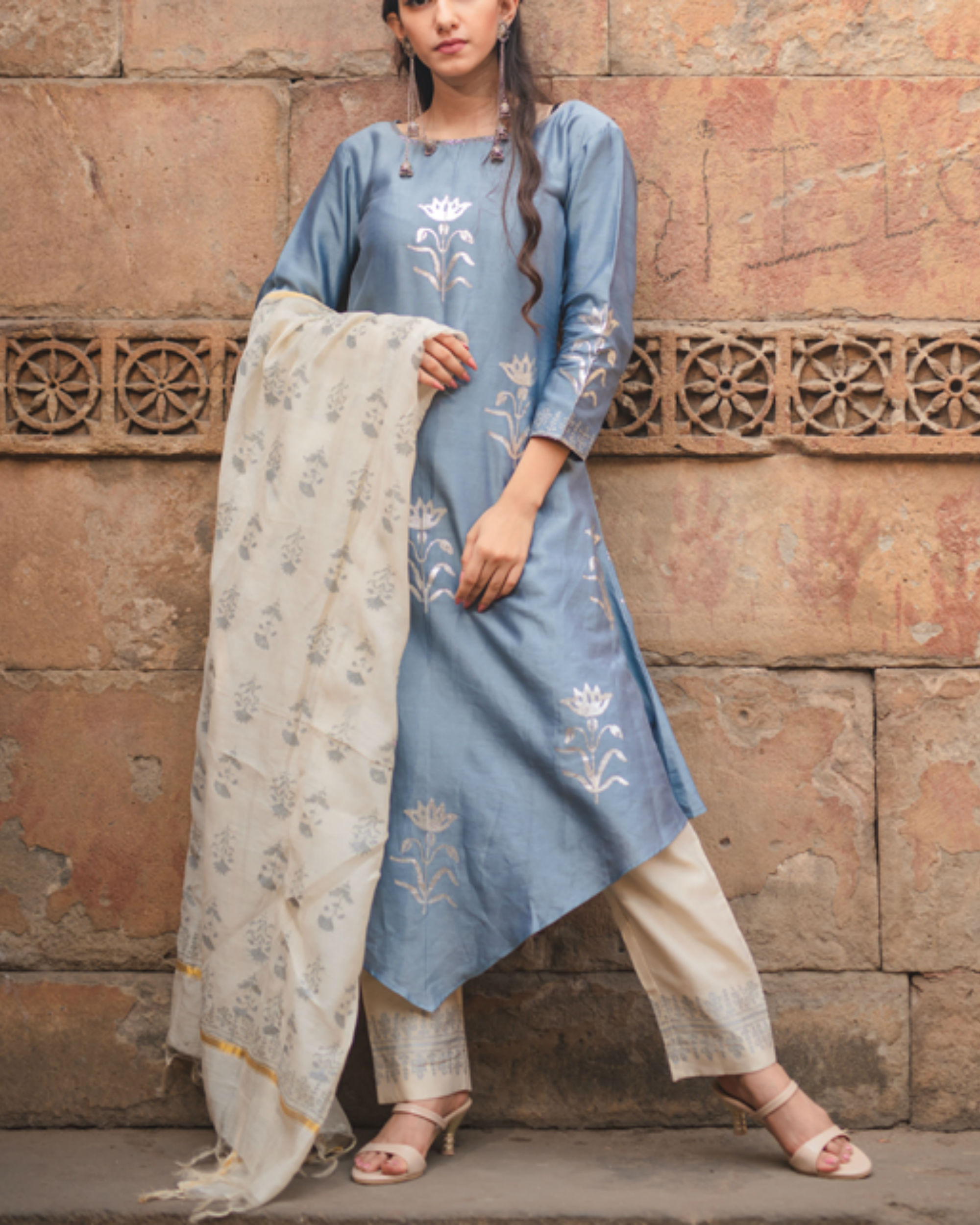 Cobalt blue printed kurta set with dupatta