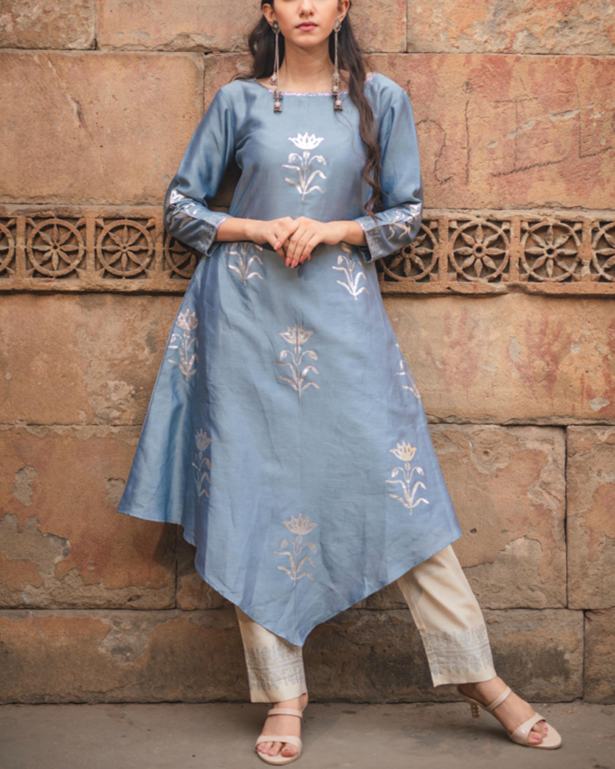 Cobalt blue printed kurta pant set