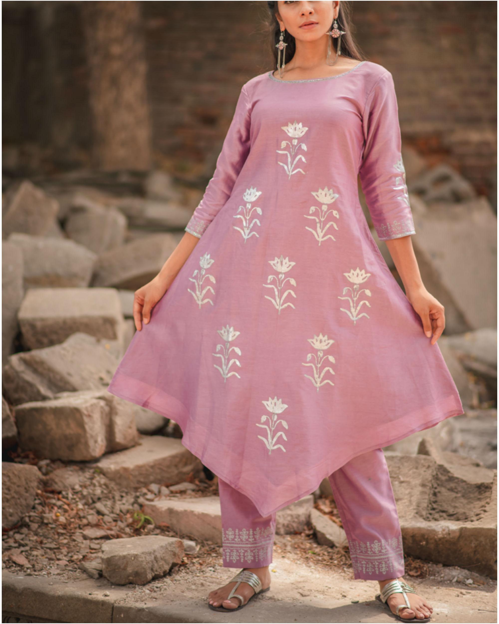Lavender floral printed kurta pant set
