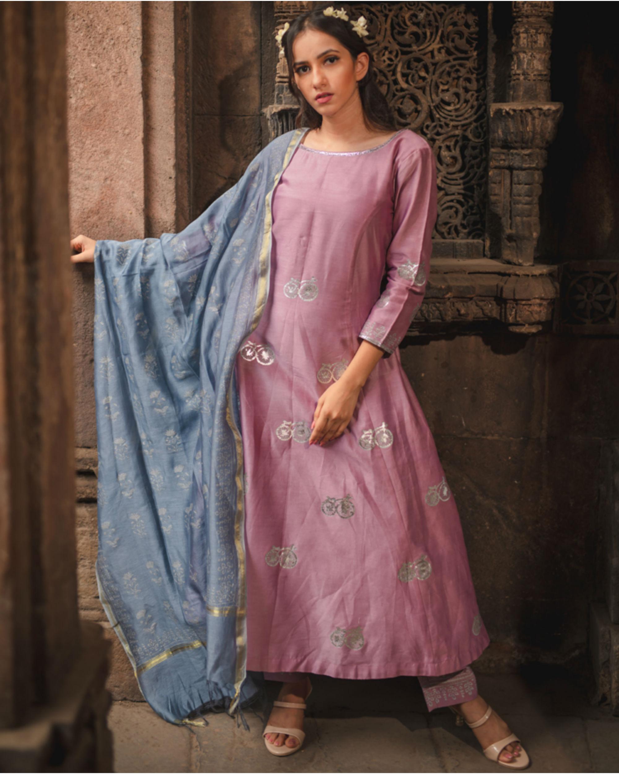 Lavender printed kurta set with dupatta