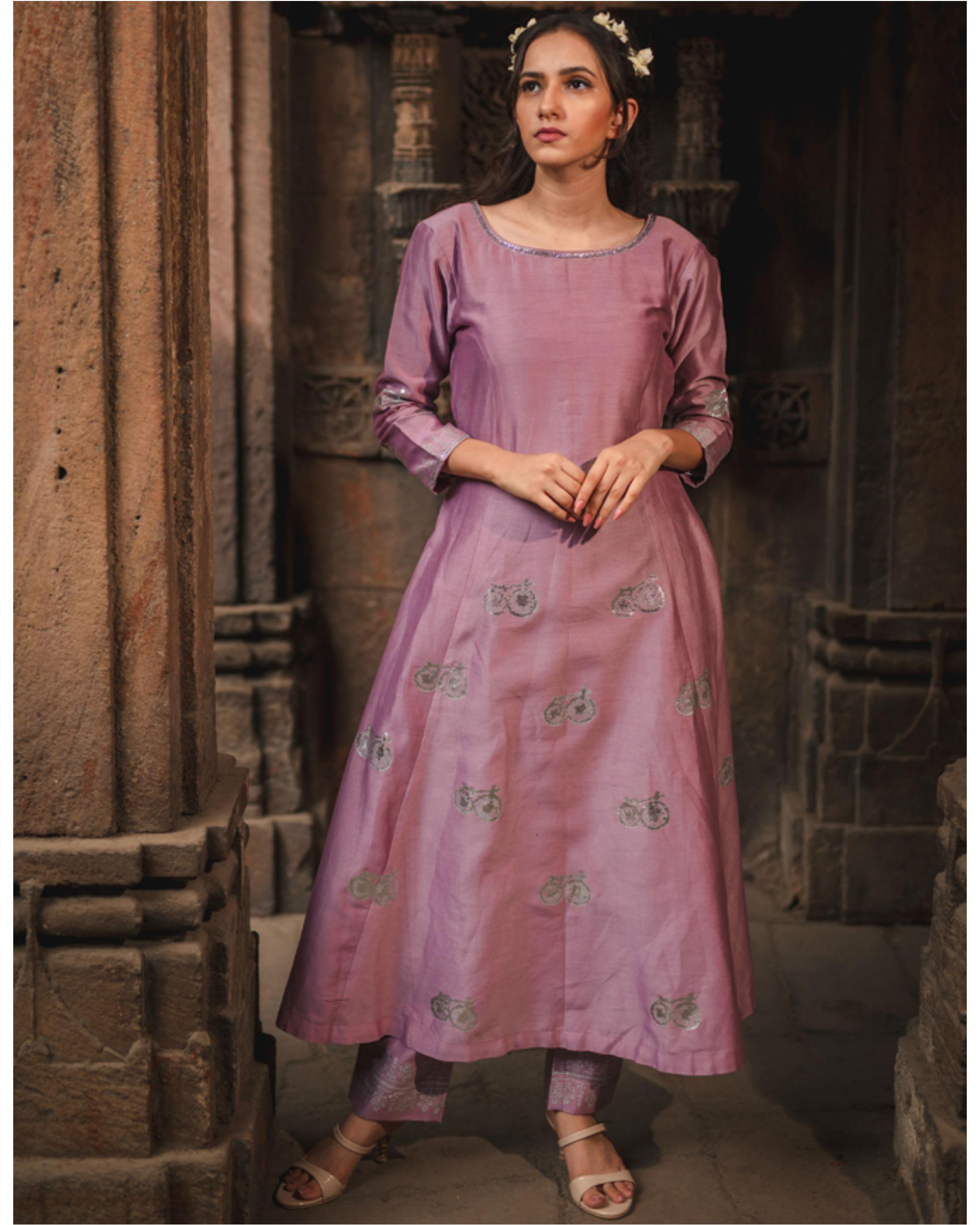 Lavender printed kurta and pant set