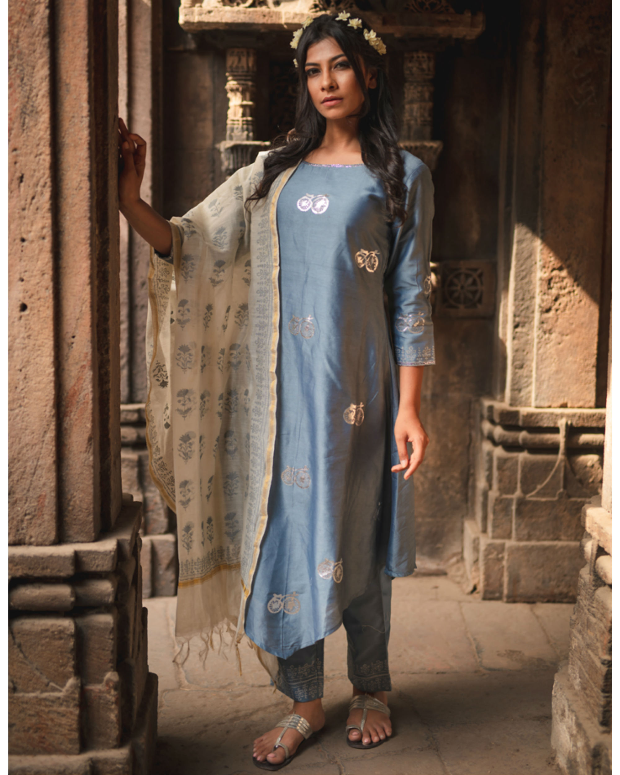 Blue cycle printed kurta set with dupatta