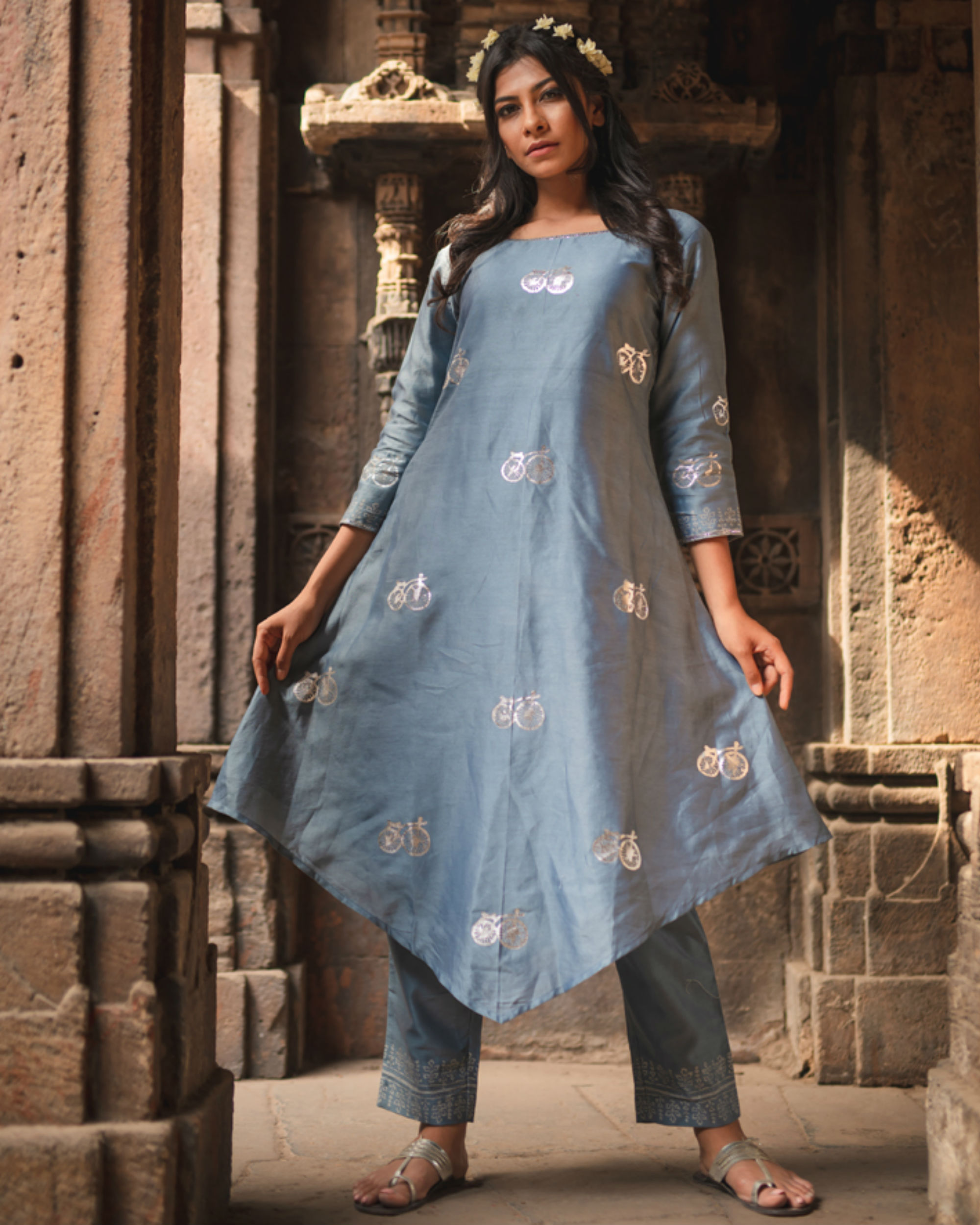 Blue cycle printed kurta pant set