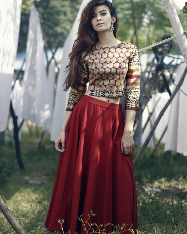 Chanderi buta skirt set
