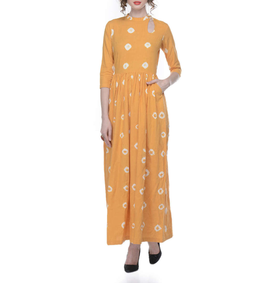 Yellow tye and dye maxi dress