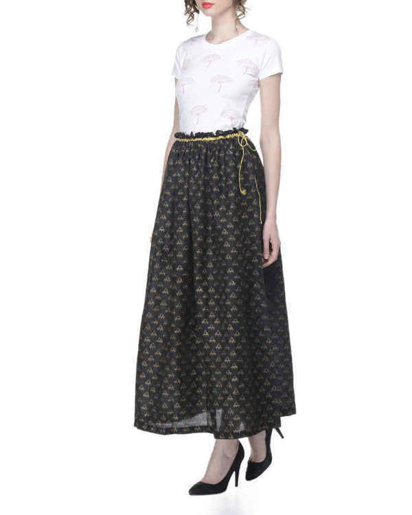 Black gathered block printed skirt