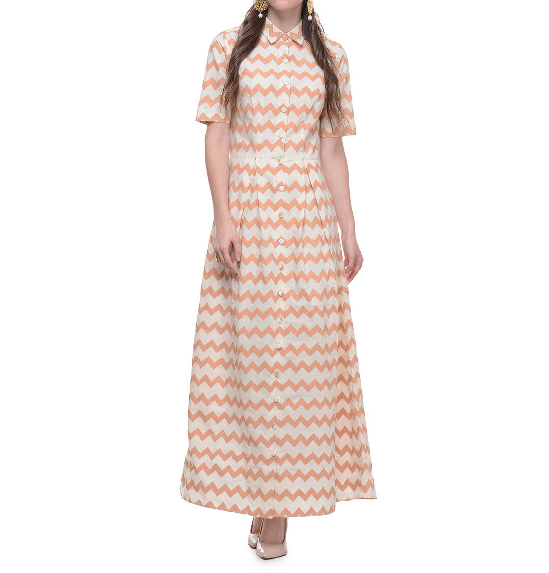 Cotton dress with beige zig zag hand block print