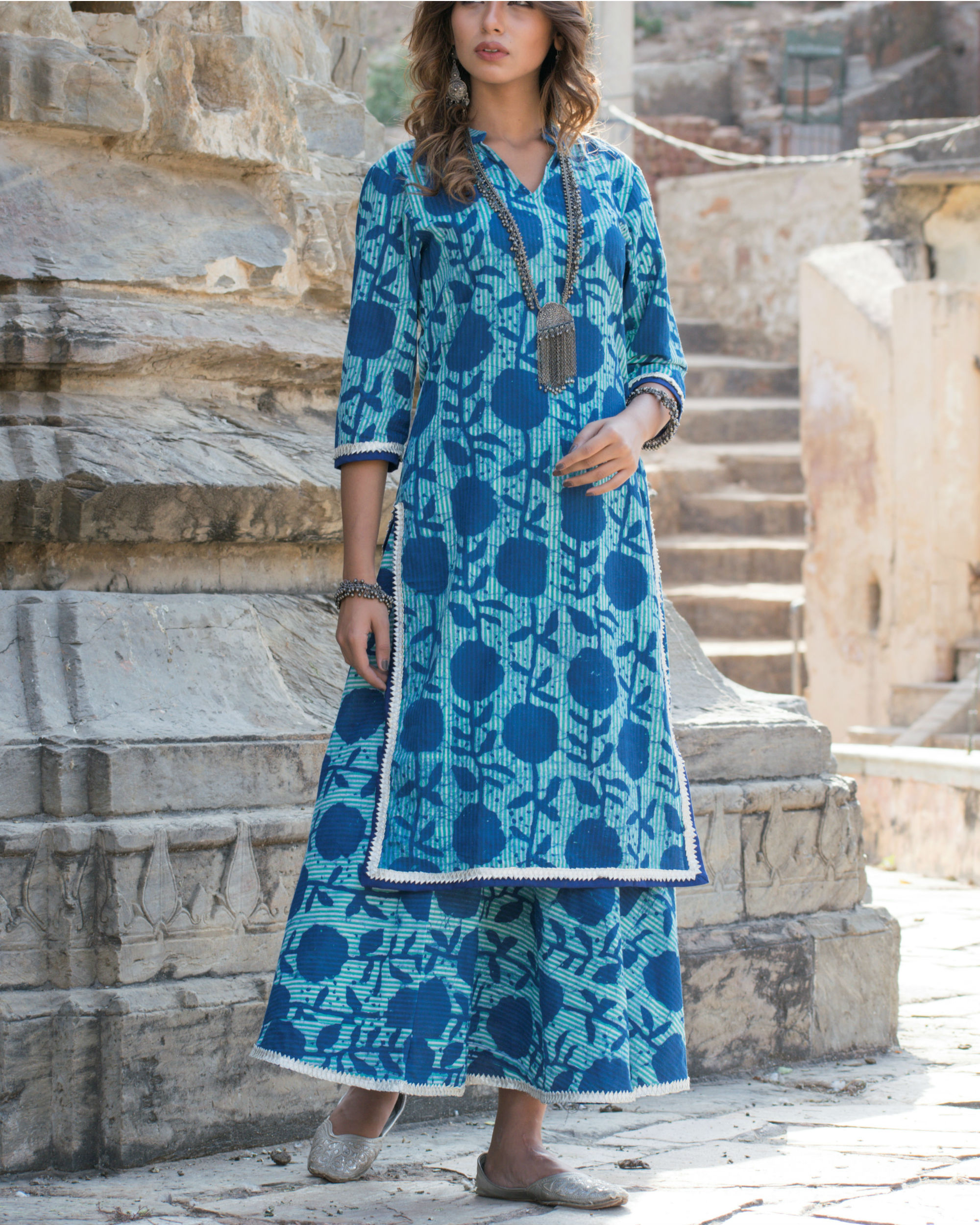Blue blossom kurta and skirt set