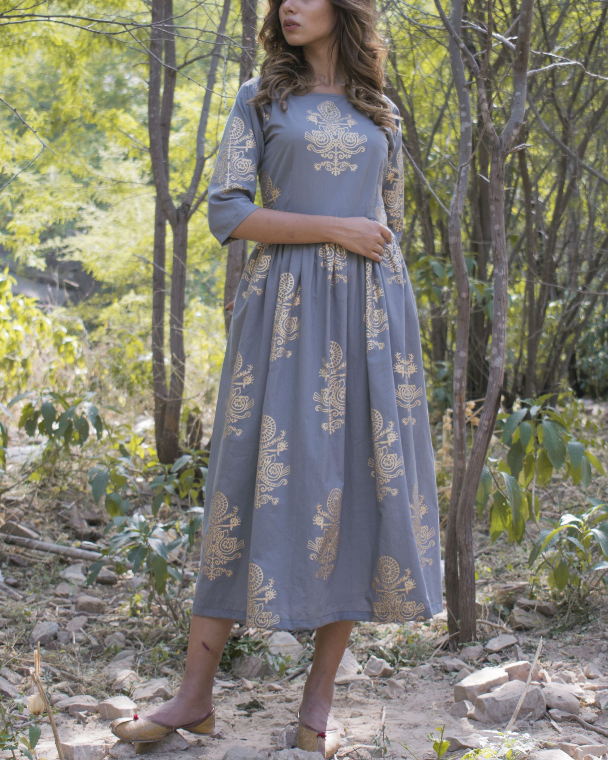 Grey gold gathered dress