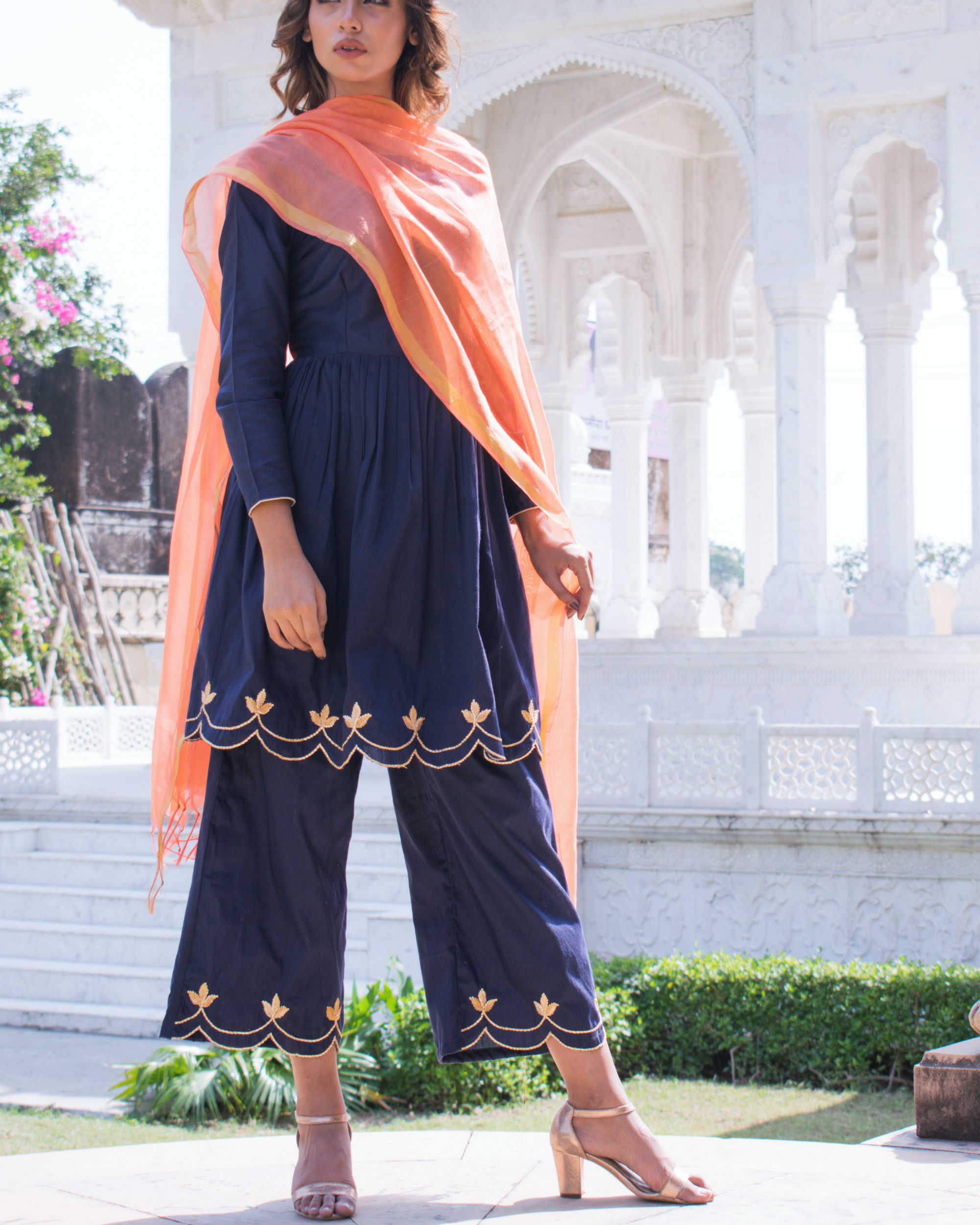 Navy blue cut work set with dupatta