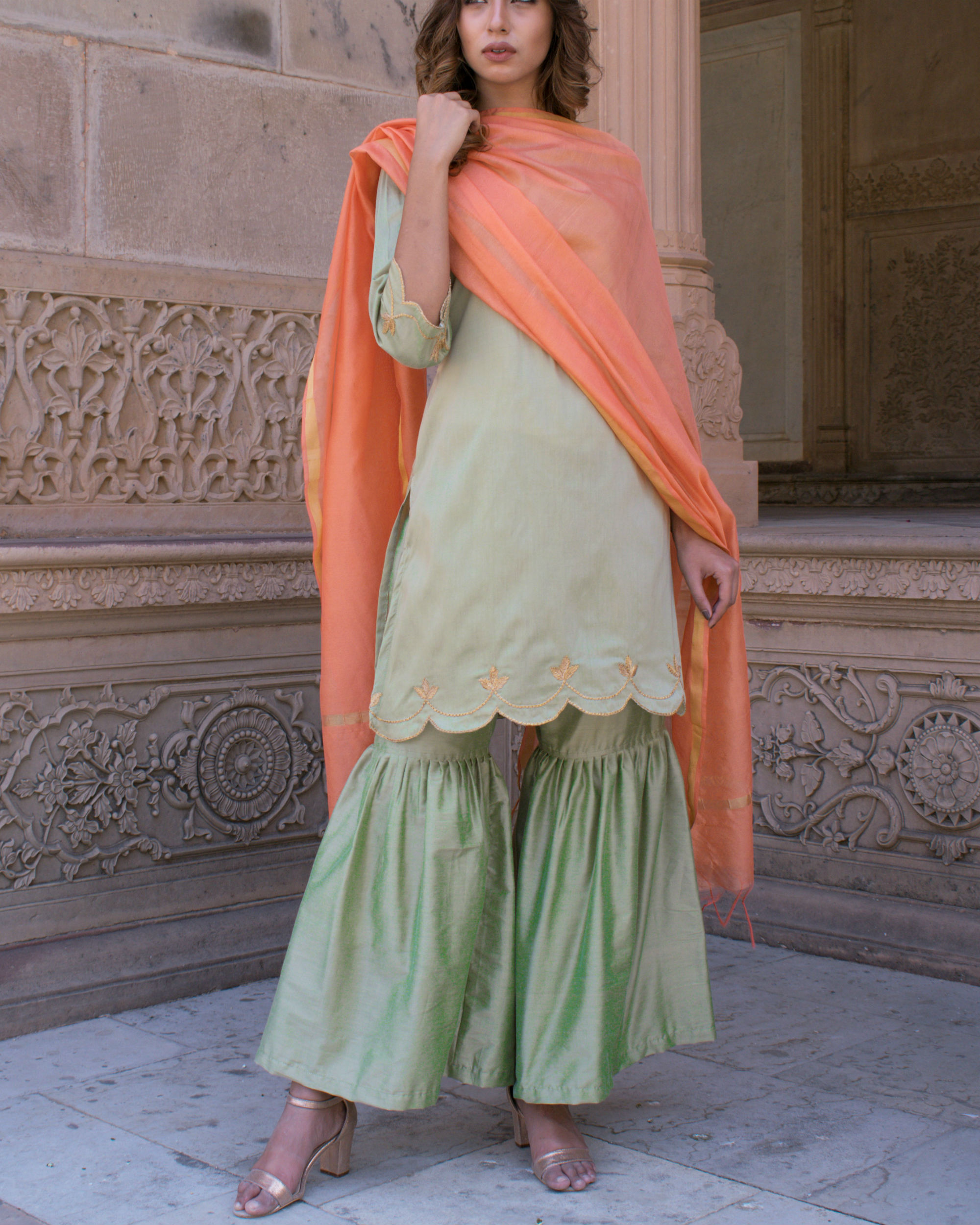 Pastel green cut work set with dupatta