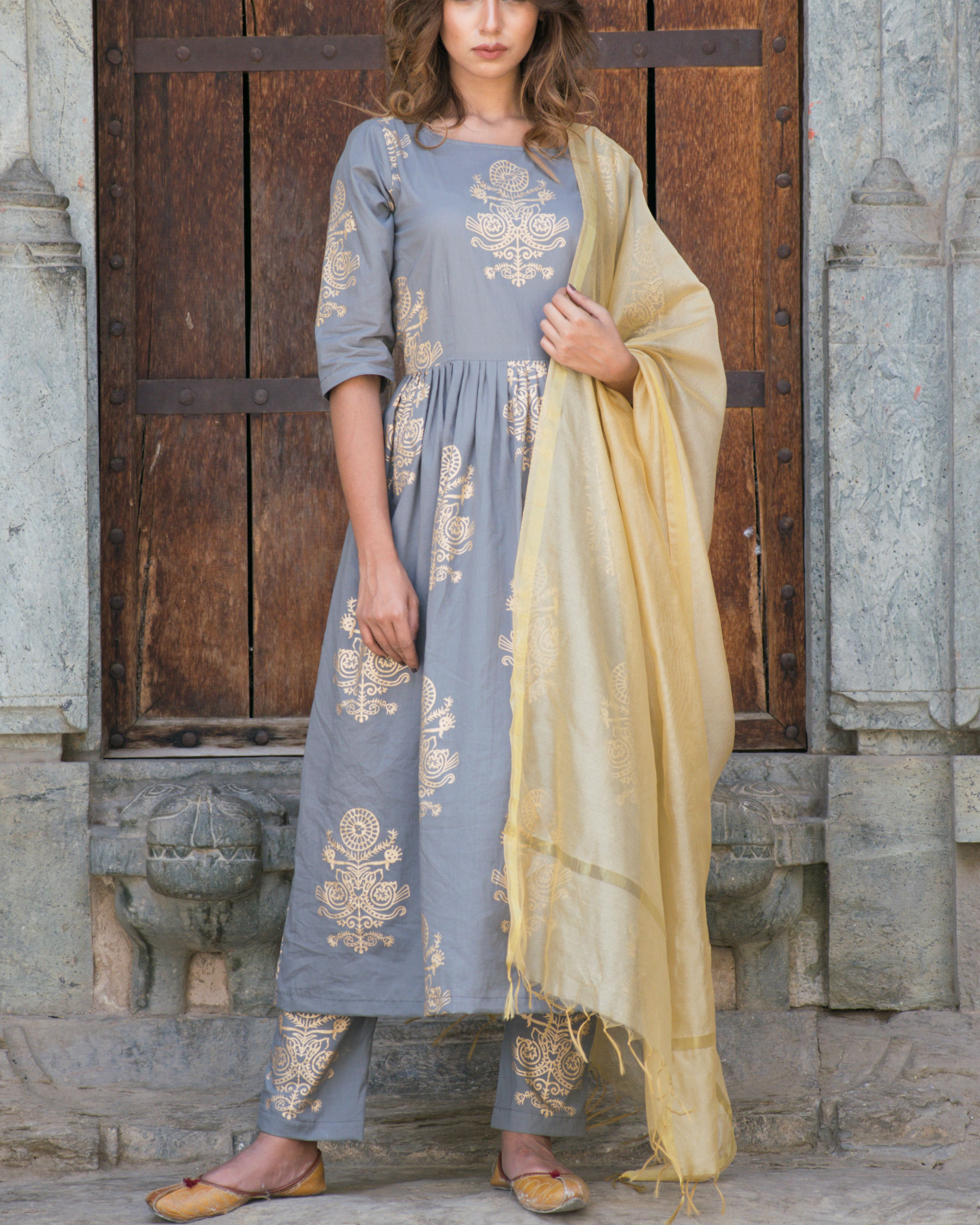 Gold and grey suit set with dupatta
